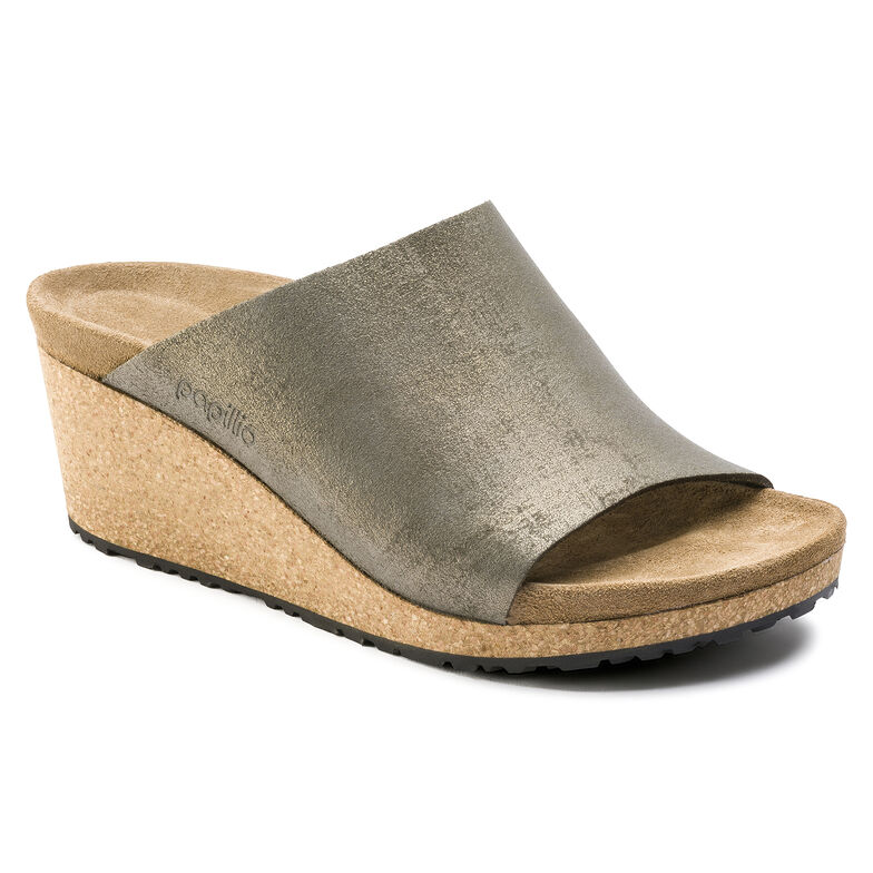 Namica Suede Leather Washed Metallic Stone Gold