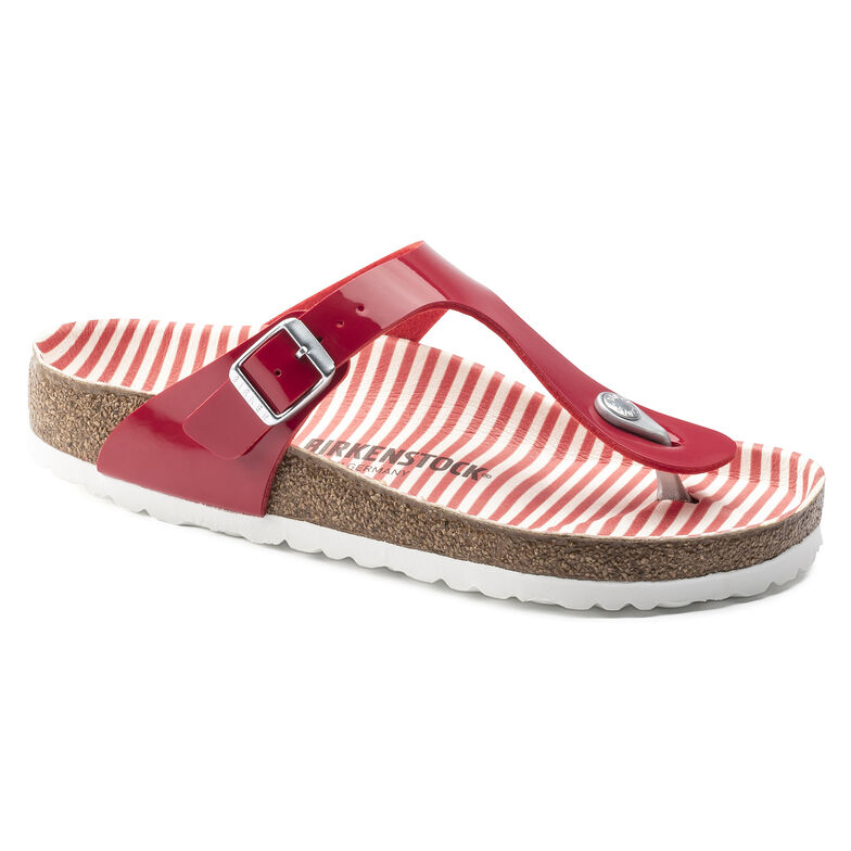 Gizeh Birko-Flor Patent Nautical Stripes Red