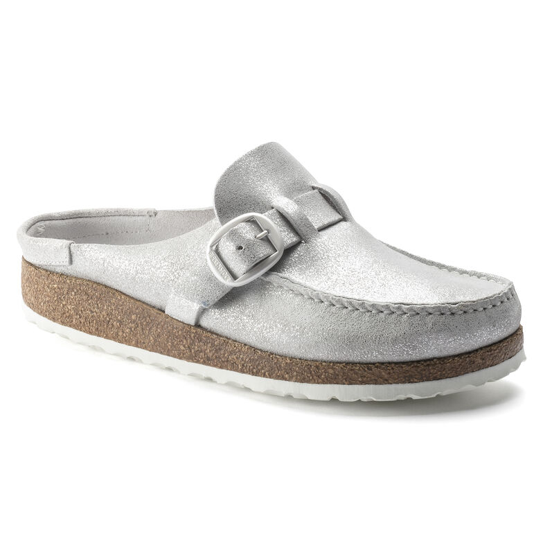 Buckley Suede Leather Washed Metallic Silver