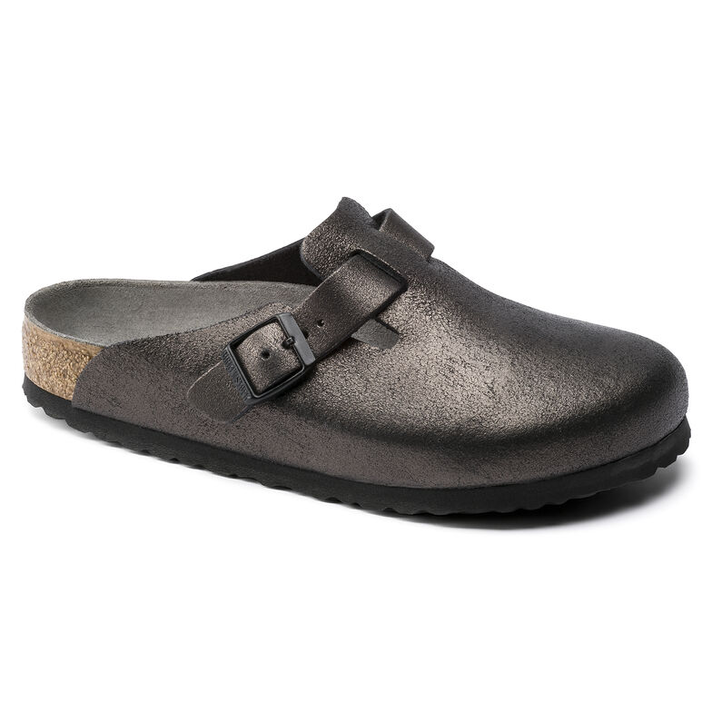 Boston Suede Leather Washed Metallic Antique Black