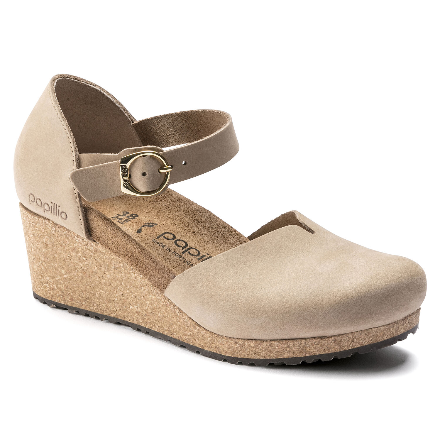Mary Ring-Buckle Nubuck Leather