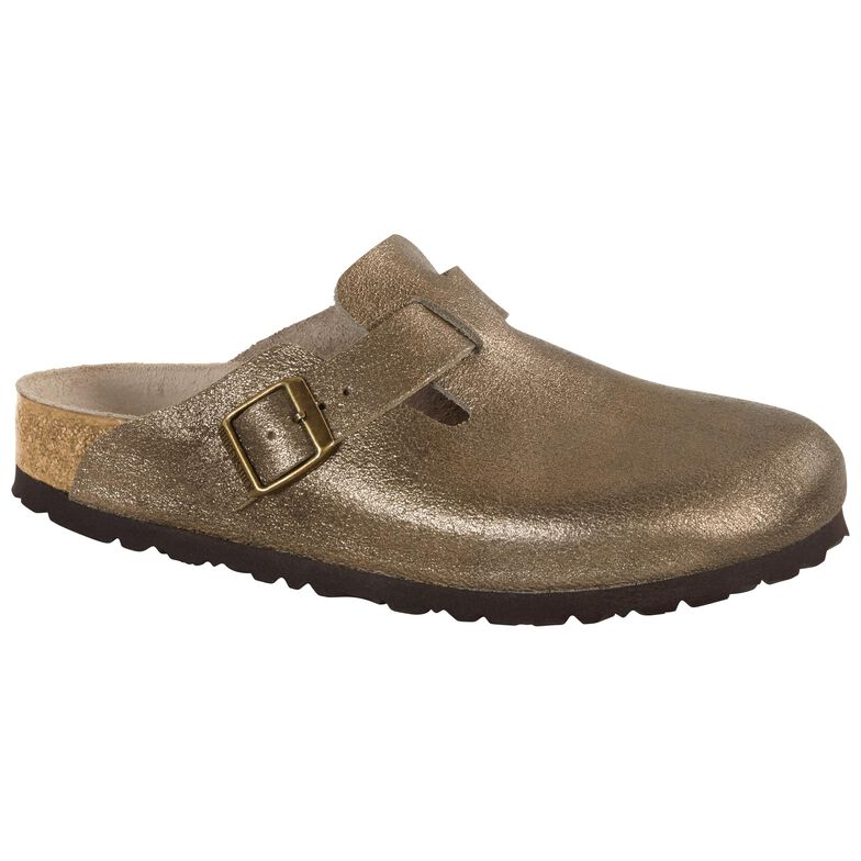 Boston Suede Leather Washed Metallic Antique Gold