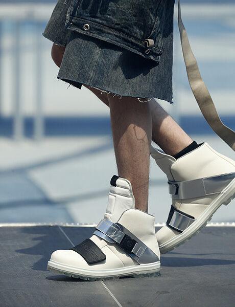 Rick Owens launch show model wearing Rotterhiker white