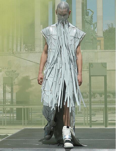 Rick Owens launch show model wearing Rotterhiker