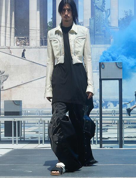 Rick Owens launch show model wearing Rotterdam