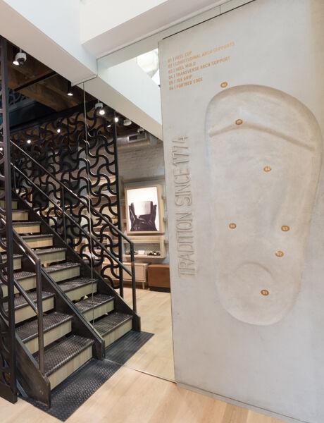 Soho Store interior footbed wall display