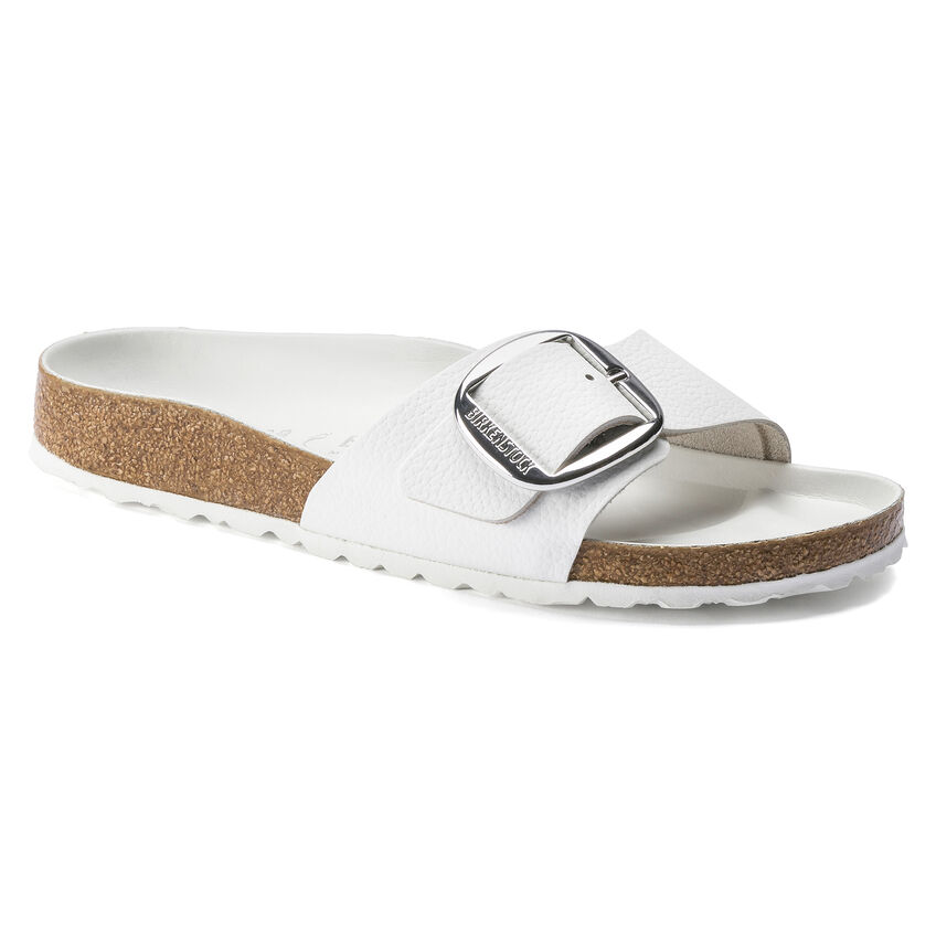 Madrid Big Buckle Natural Leather White