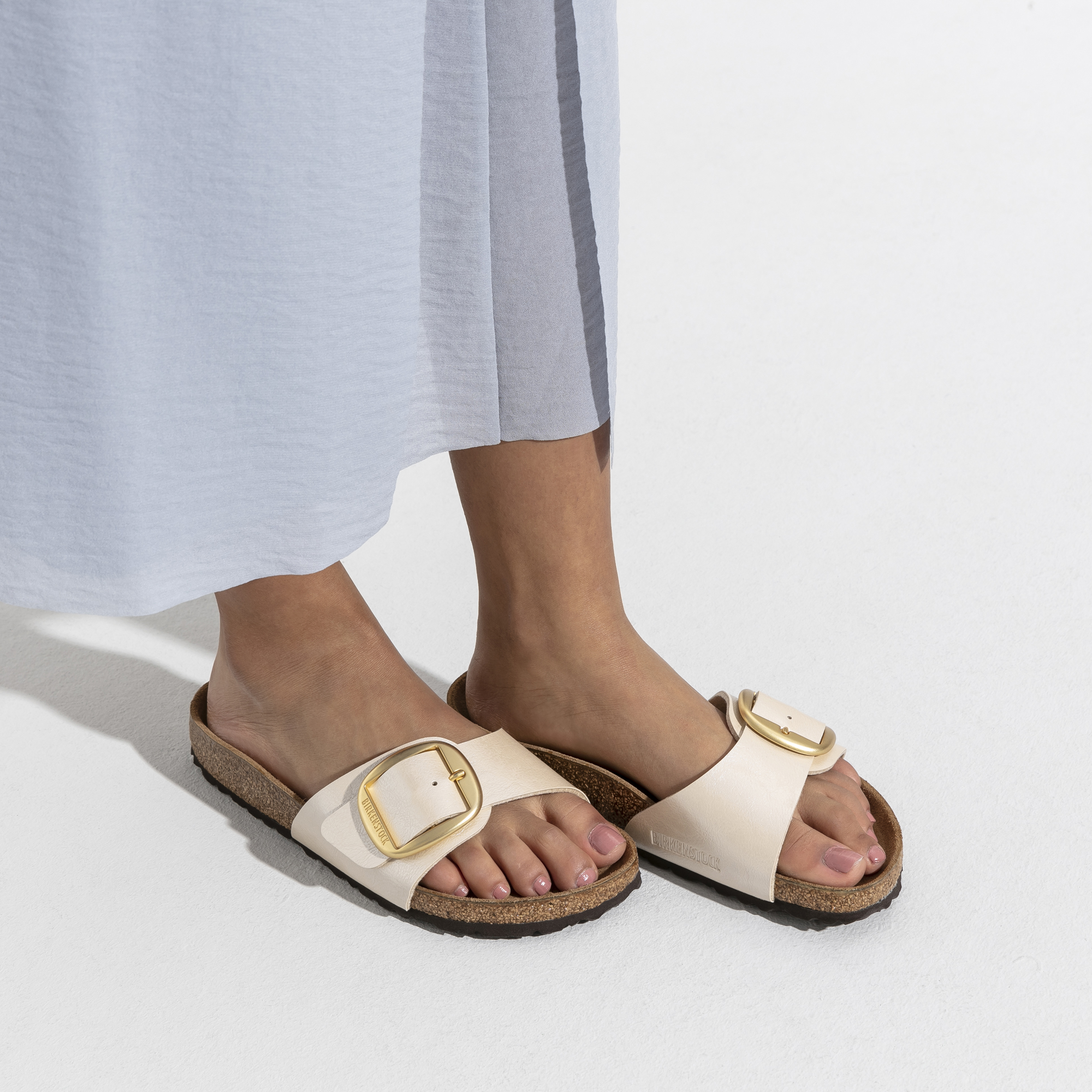 Pantolette Birkenstock Madrid Big Buckle Graceful Pearl White Narrow Damen
