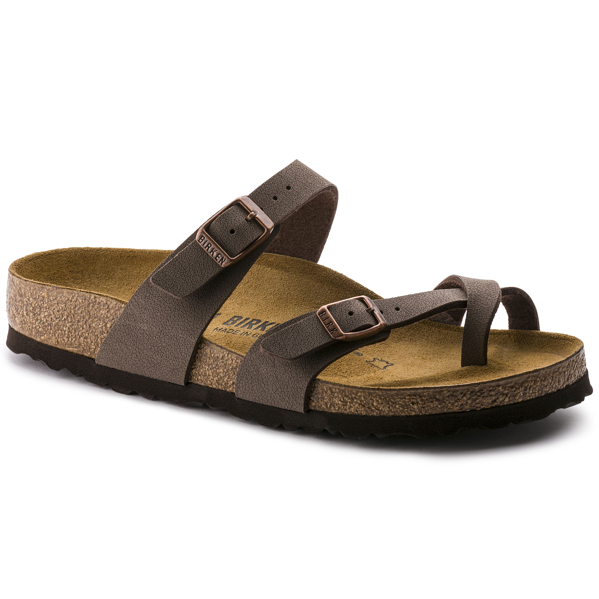 WOMEN'S NEW BIRKENSTOCK Mayari Mocha Birkibuc toe loop slide