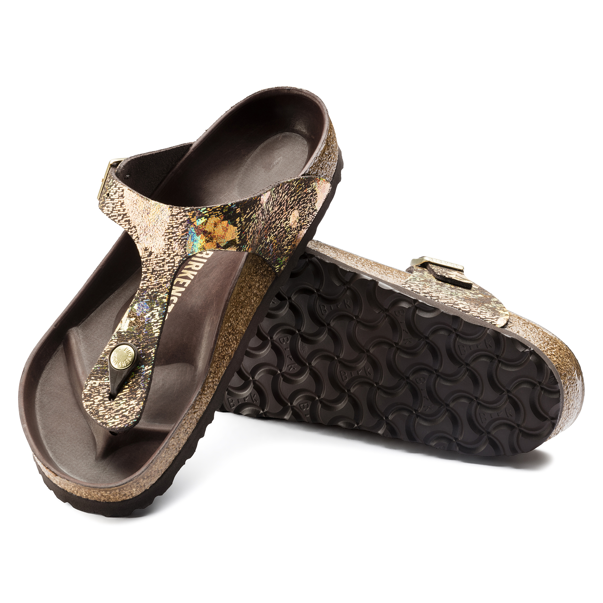 Birkenstock Exquisit Gizeh Spotted Metallic Brown