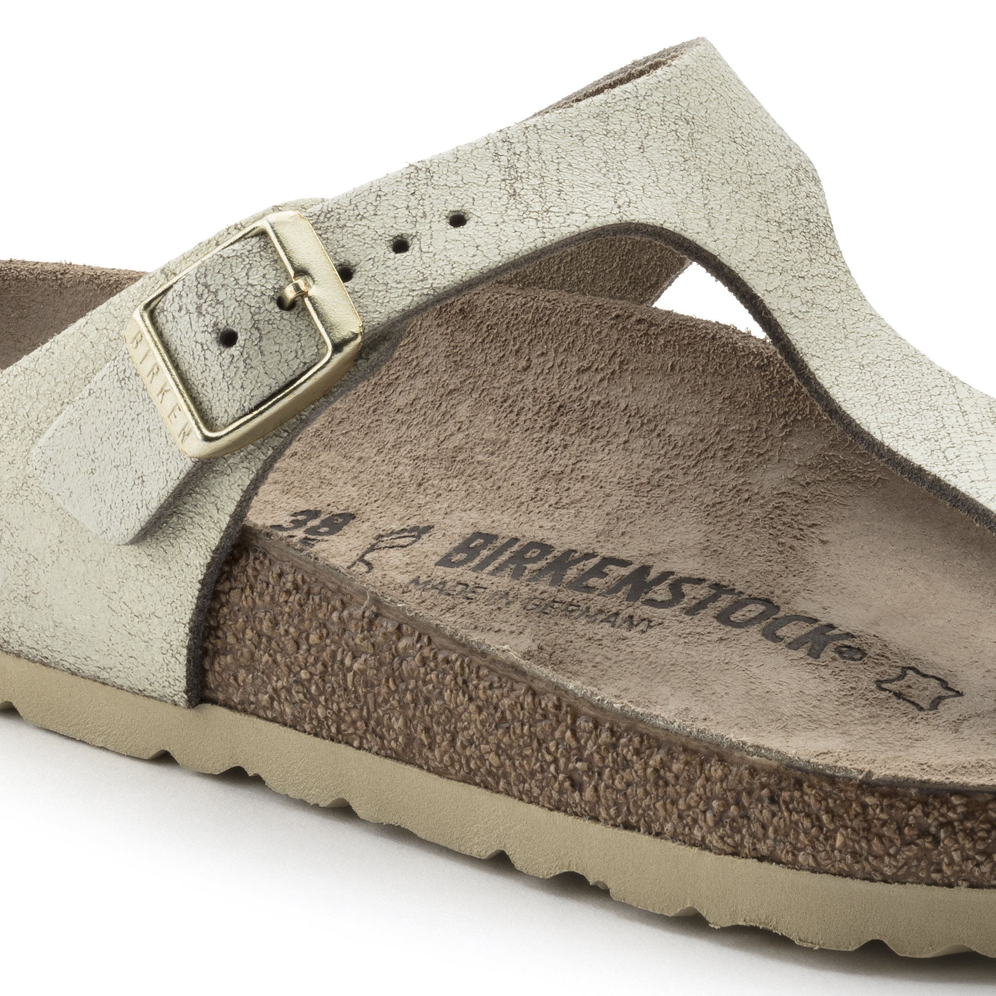 Gizeh Suede Leather Washed Metallic Cream Gold
