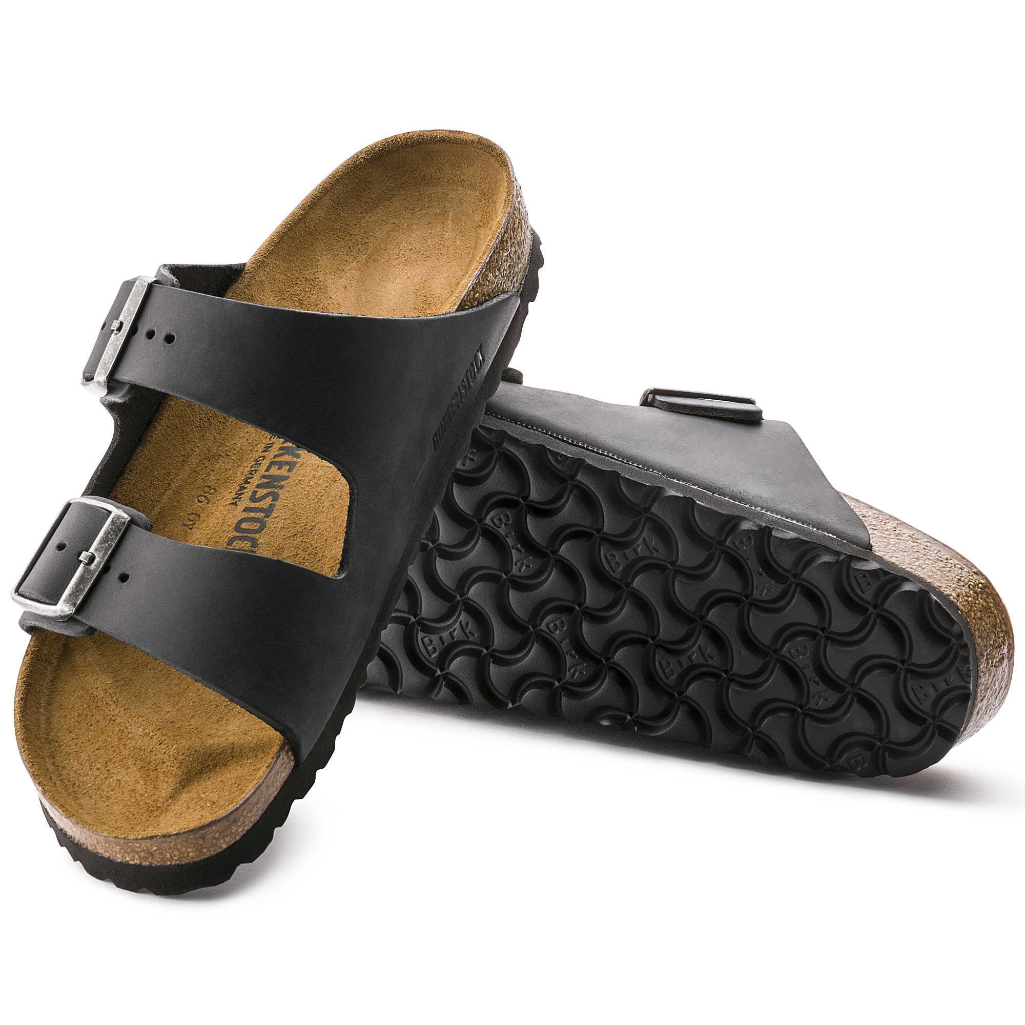 black Arizona leather sandals Birkenstock
