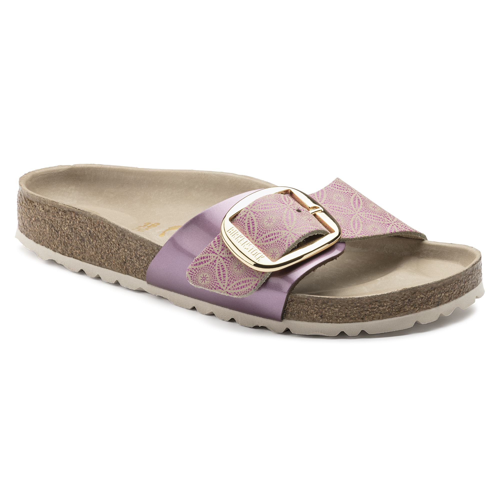 BIRKENSTOCK Damen Madrid Big Buckle Naturleder Schmal Sandale,Ceramic Pattern Rose (1009035),39 EU