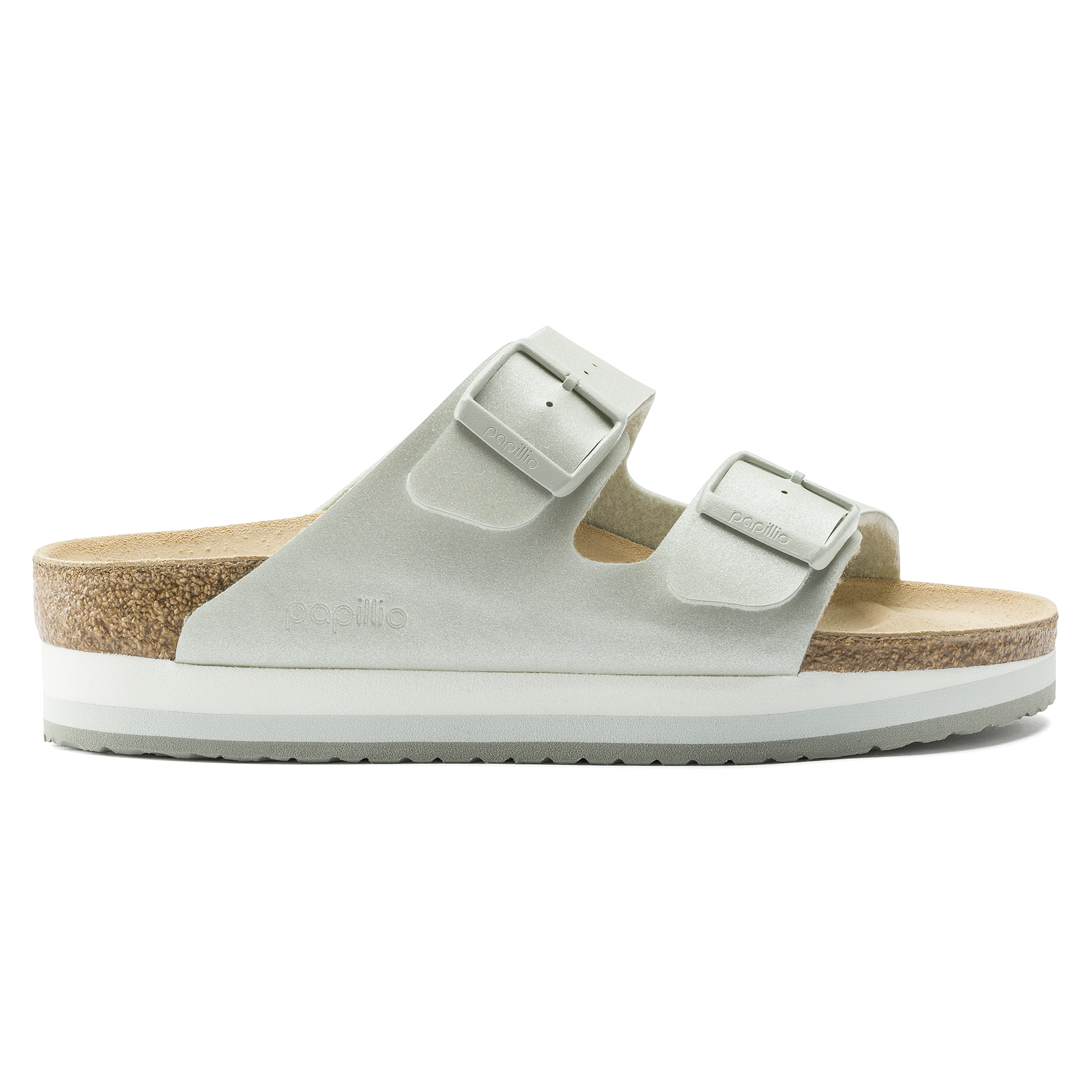 BIRKENSTOCK BIRKENSTOCK Arizona Birko Flor Icy Metallic Mineral Platform Two Strap Sandals Women's Size 4 from Birkenstock | ShapeShop