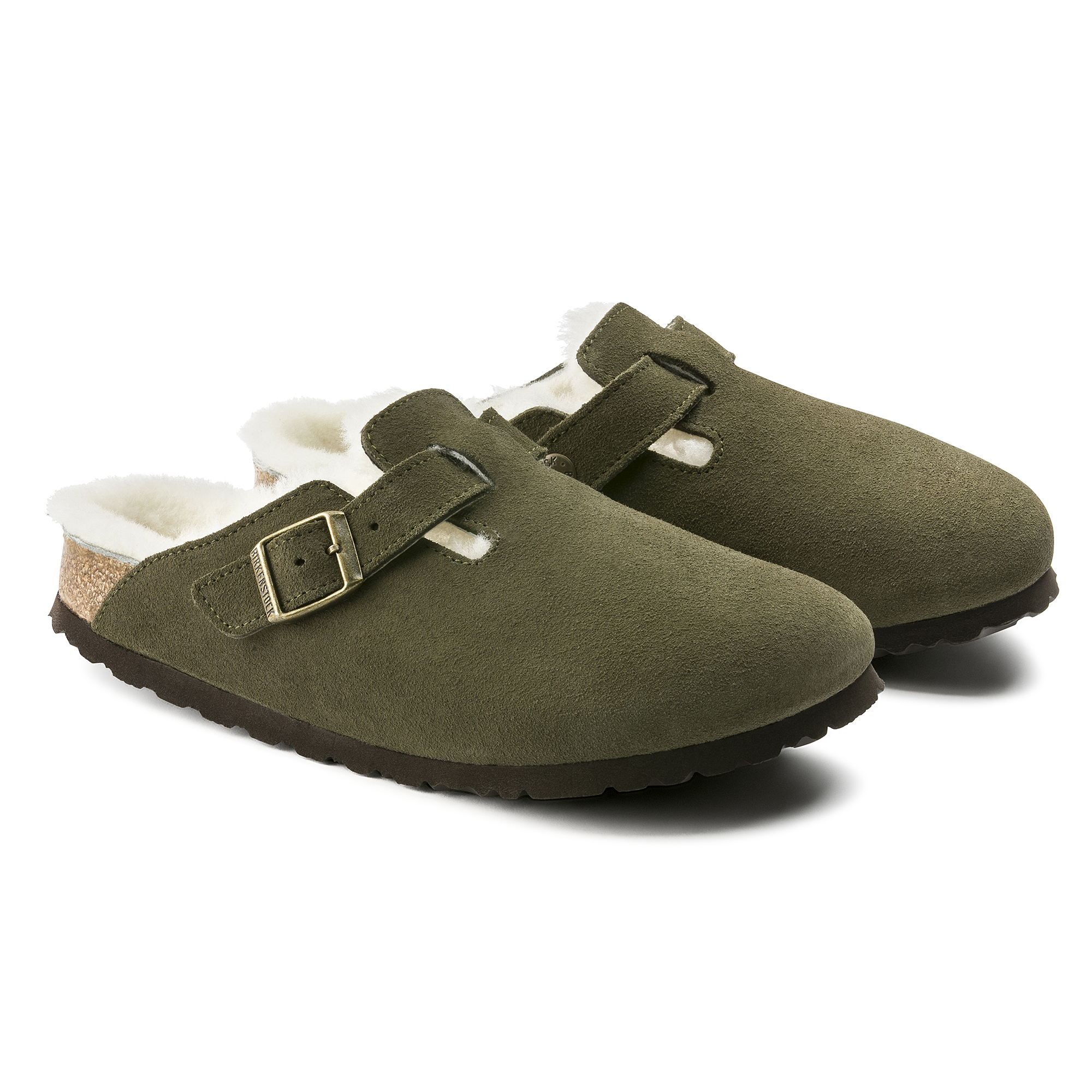 Birkenstock Boston Fell Forest Veloursleder