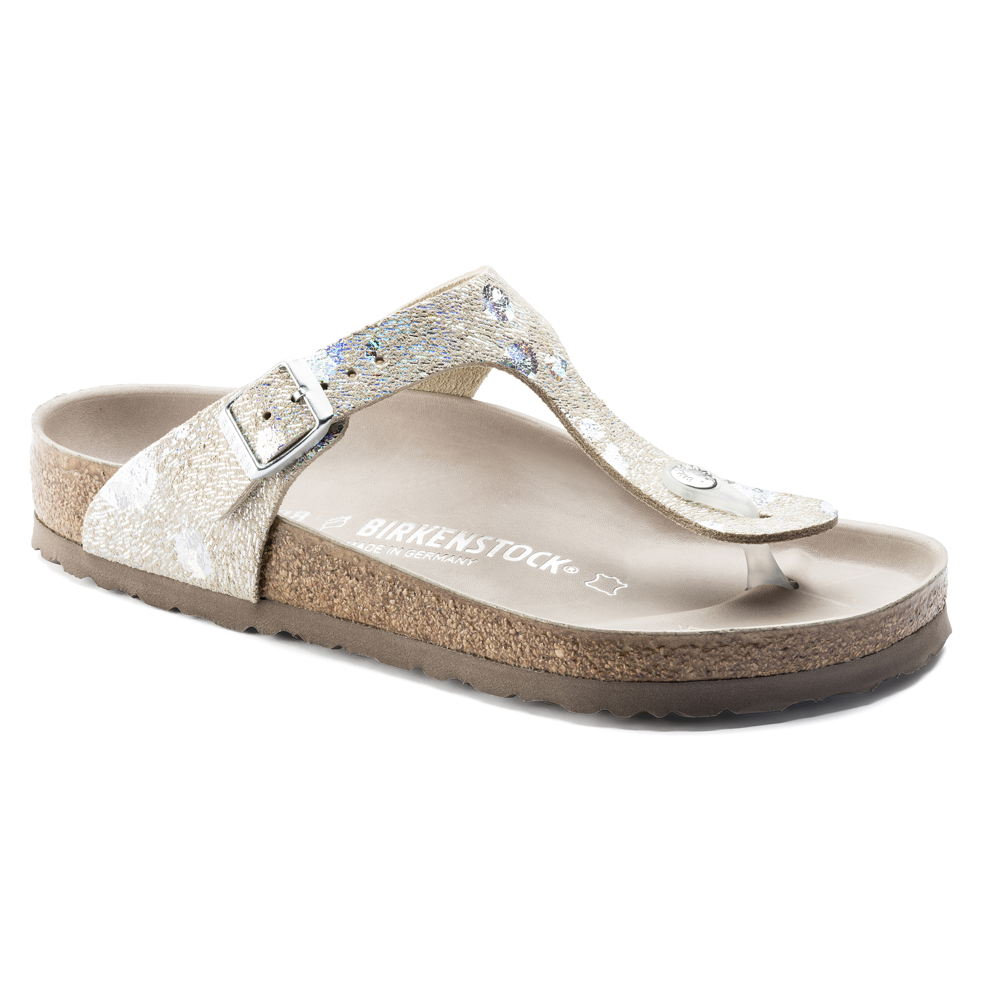 ac29e881505 Gizeh Natural Leather Spotted Metallic Silver