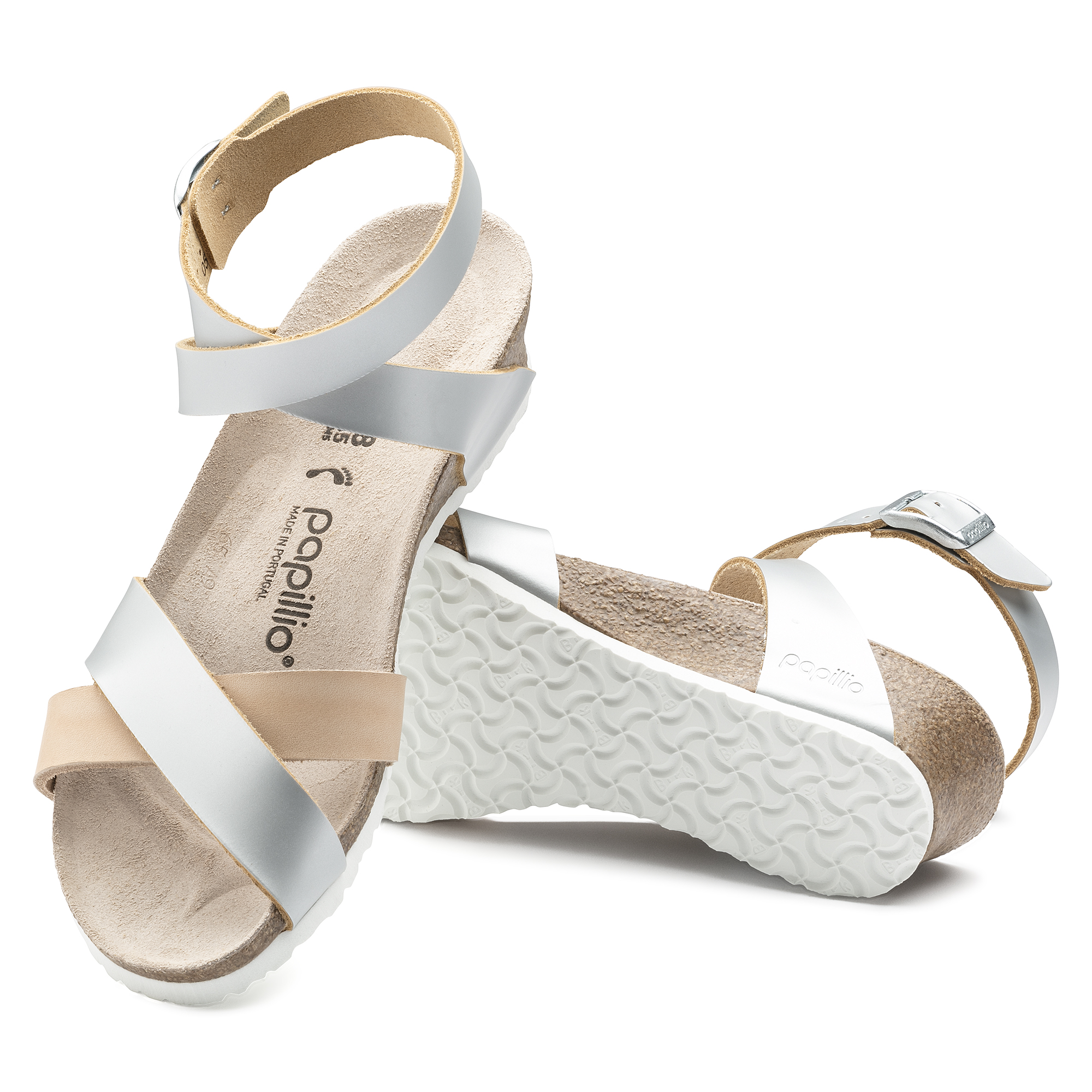 7ec084f1c72 ... Lola Natural Leather Frosted Metallic Silver ...