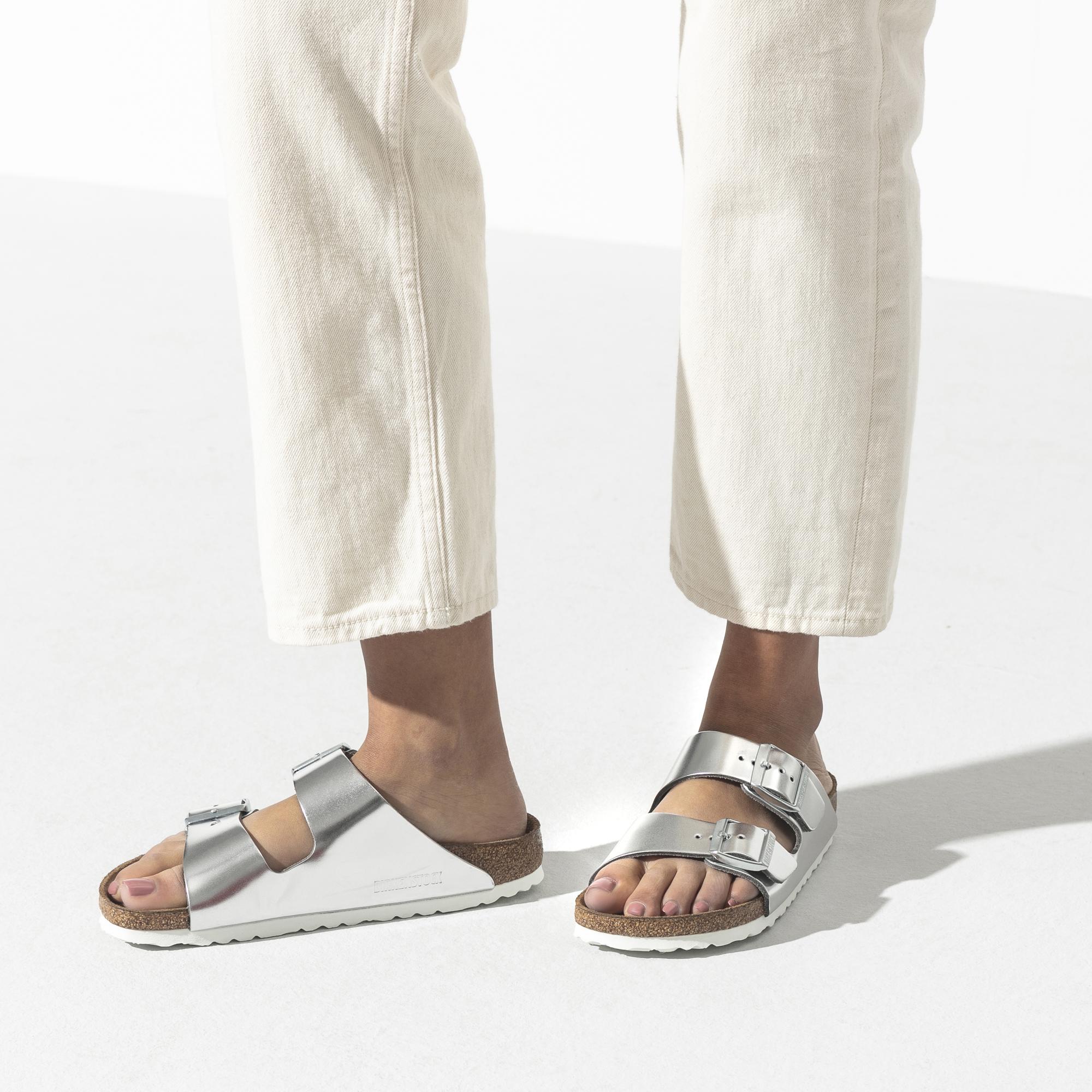 Birkenstock Arizona Soft Footbed Metallic Leather Sandal, Metallic SilverWhite