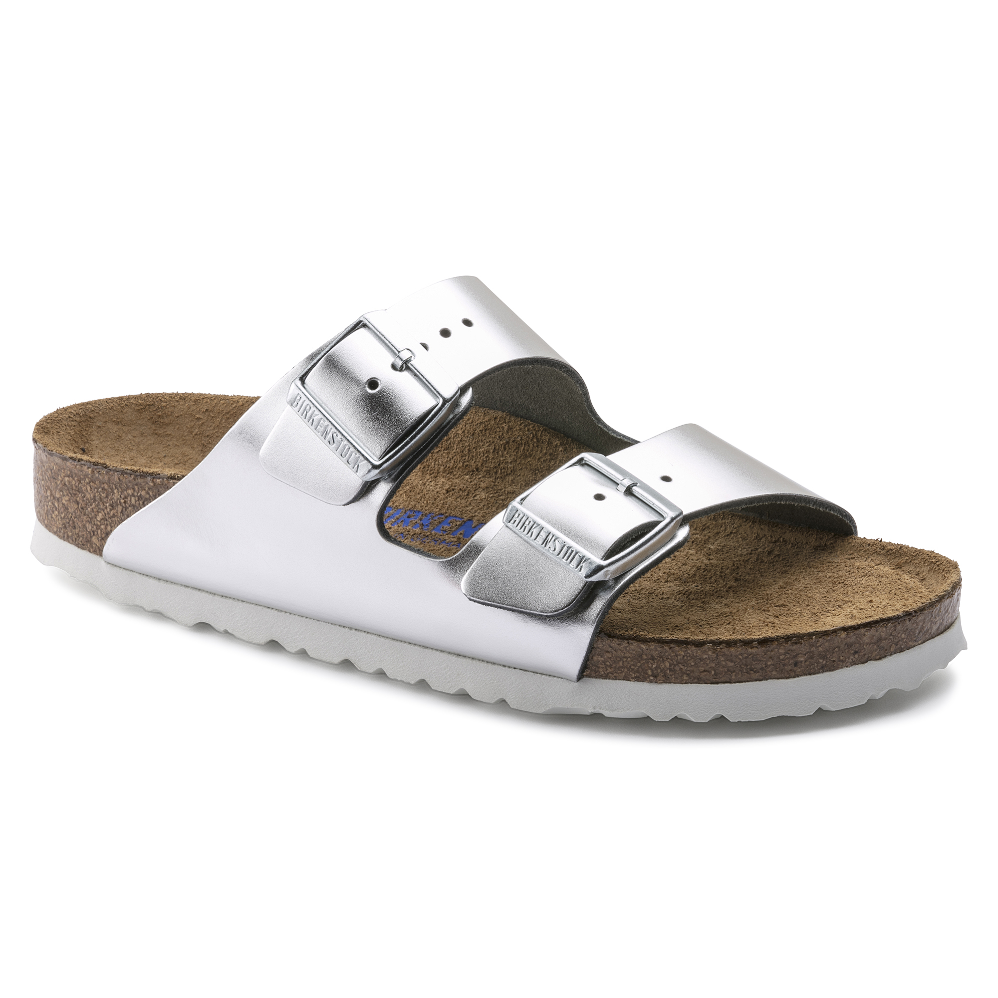 Gizeh Soft Footbed Sandals in Metallic Silver