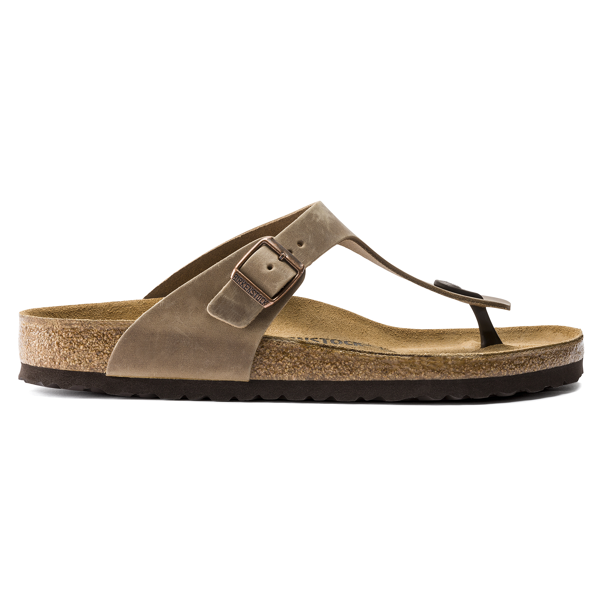 Birkenstock Gizeh Oiled Leather Regular Fit Sandal (Tobacco Brown, Size 41 EU)