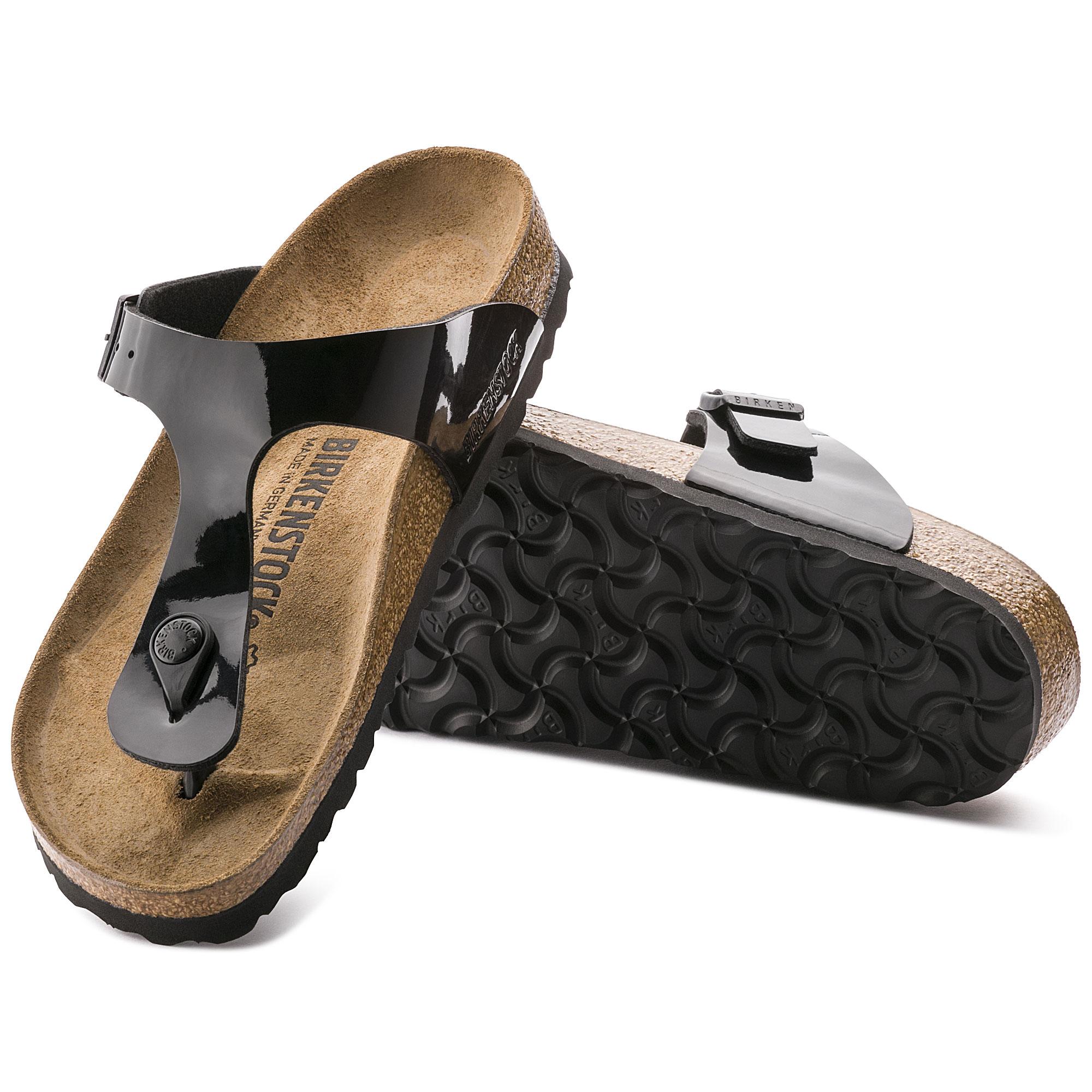 Birkenstock Gizeh Sandal Black Patent Birko Flor