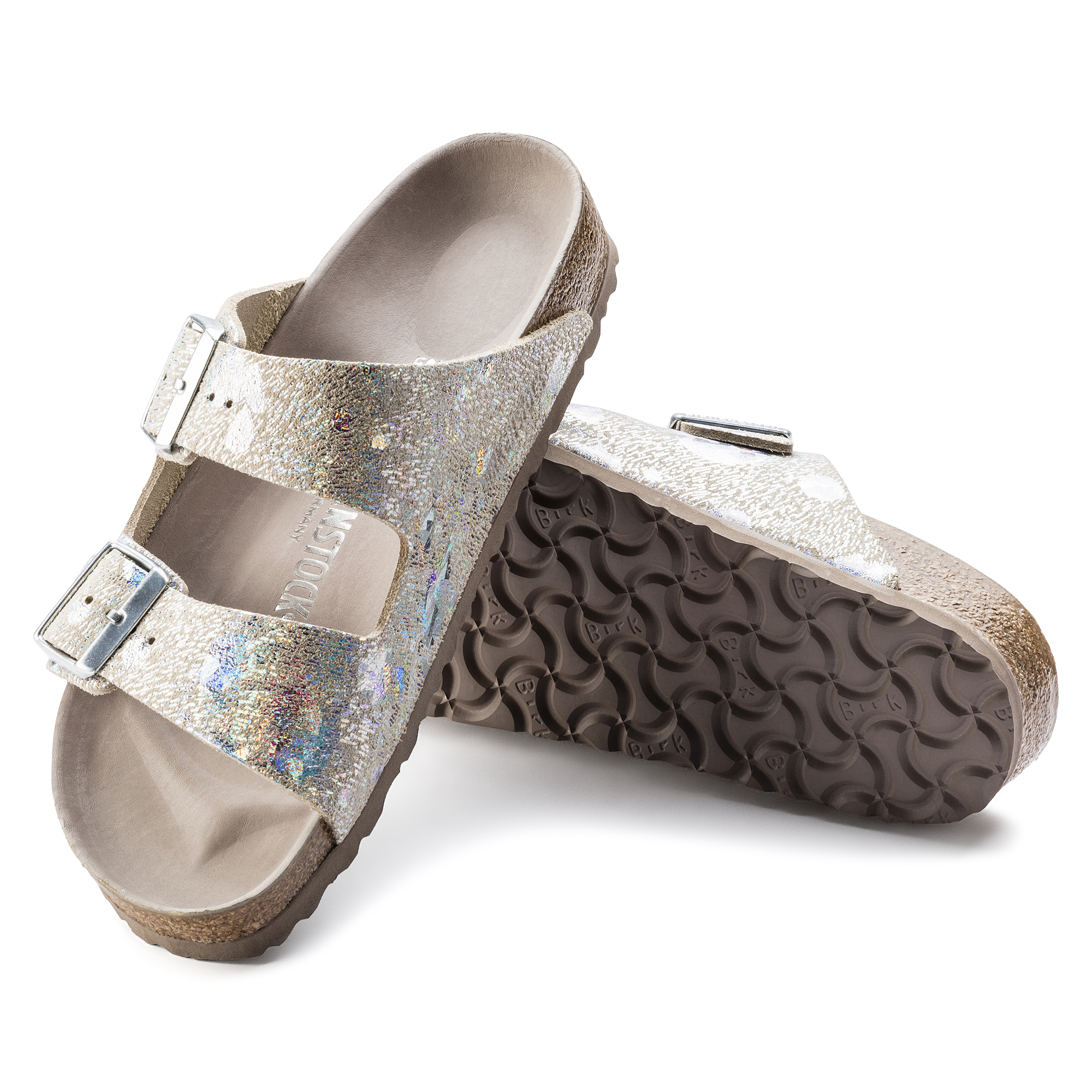 14e561d6cfb5 ... Arizona Natural Leather Spotted Metallic Silver ...