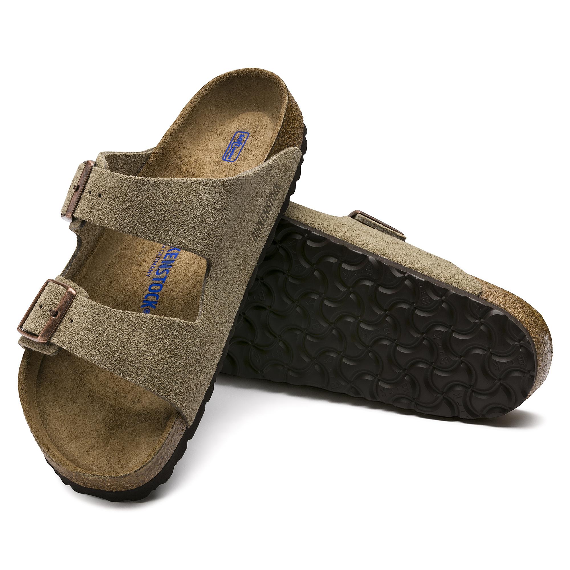 BIRKENSTOCK ARIZONA TAUPE Suede Two Strap Sandal Size 41