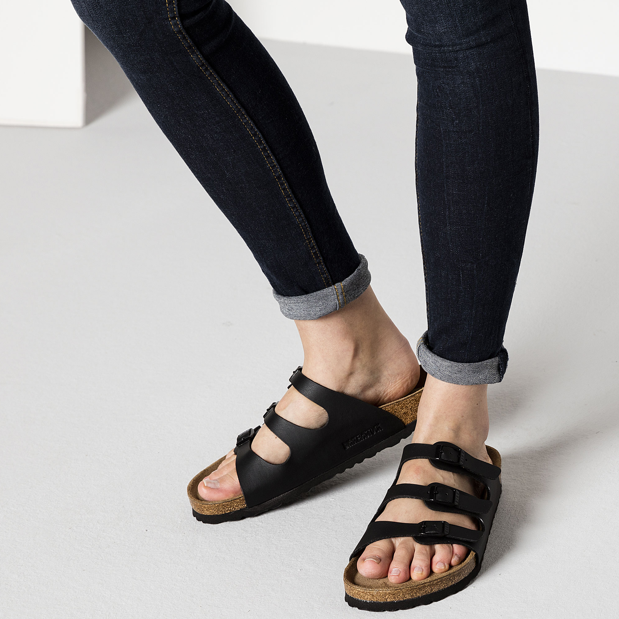 Cheap Birkenstock Florida Womens Sandals Black on sale