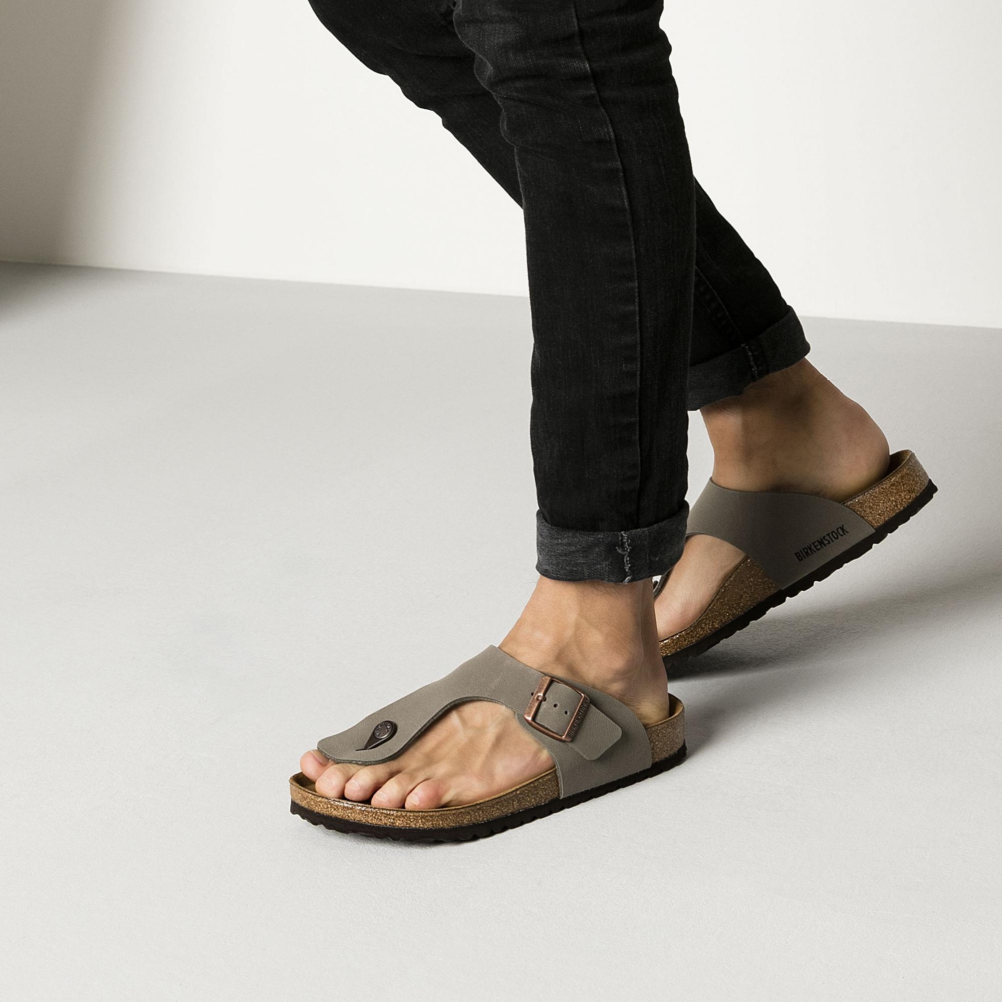 Birkenstock Gizeh Birko Flor Nubuck Sandals Stone