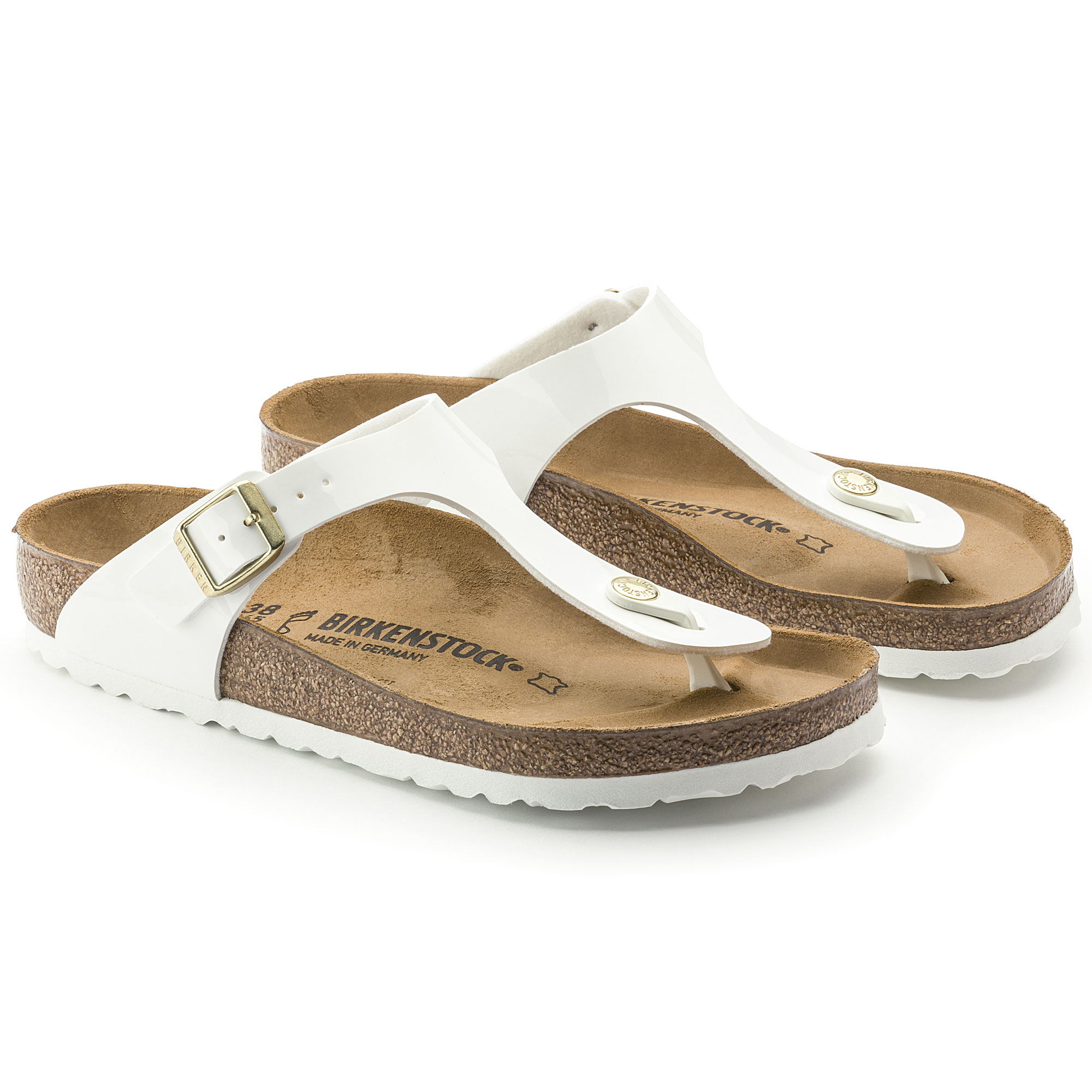 Gizeh Birko Flor Low Thong Sandals in Bright White Patent