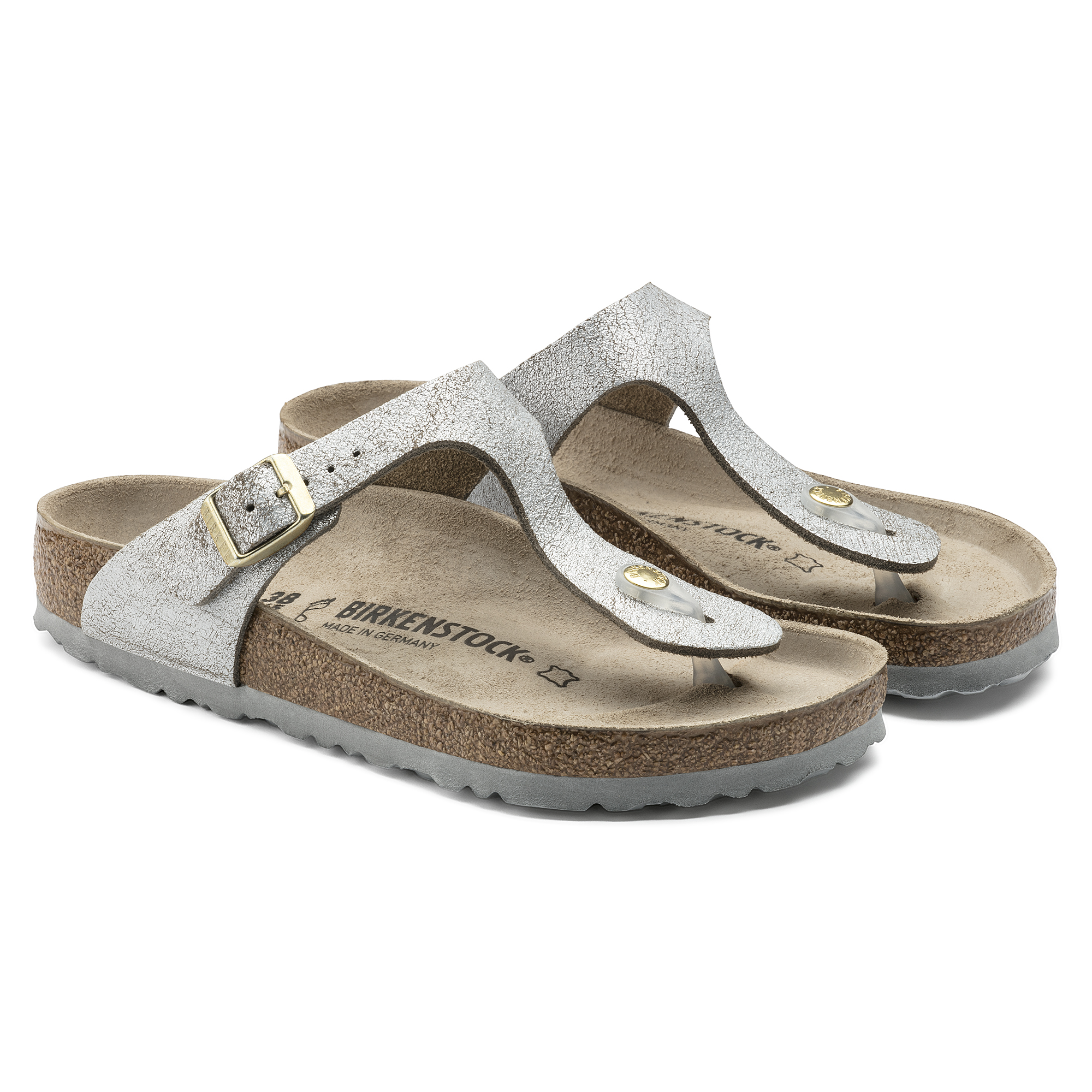129bece455b7 ... Gizeh Suede Leather Washed Metallic Blue Silver ...