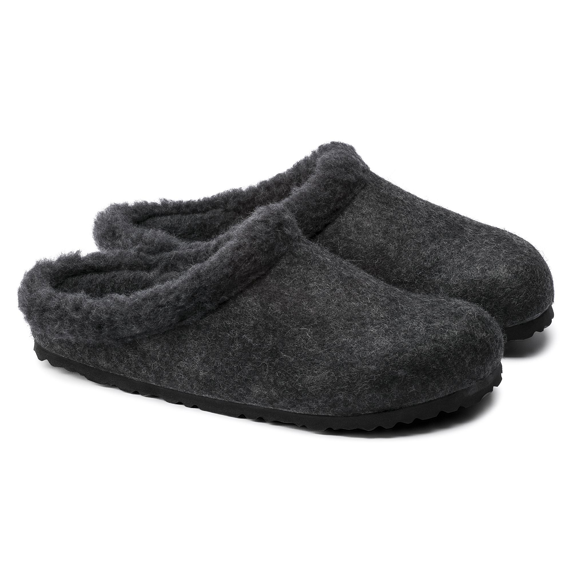 Womens Birkenstock Arizona Sandals – Narrow Width In Anthracite Happy Lamb Black
