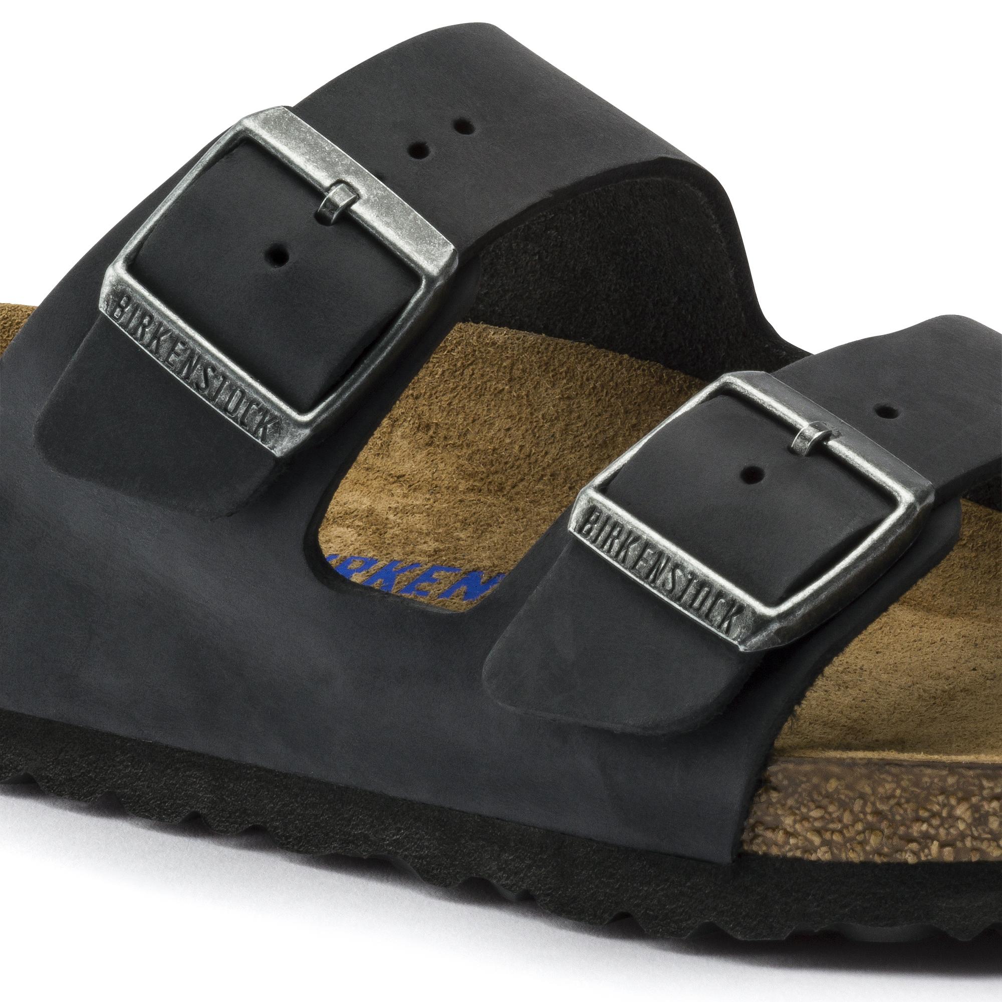 Birkenstock Classic, Arizona, Oiled Leather, Regular Fit, Black