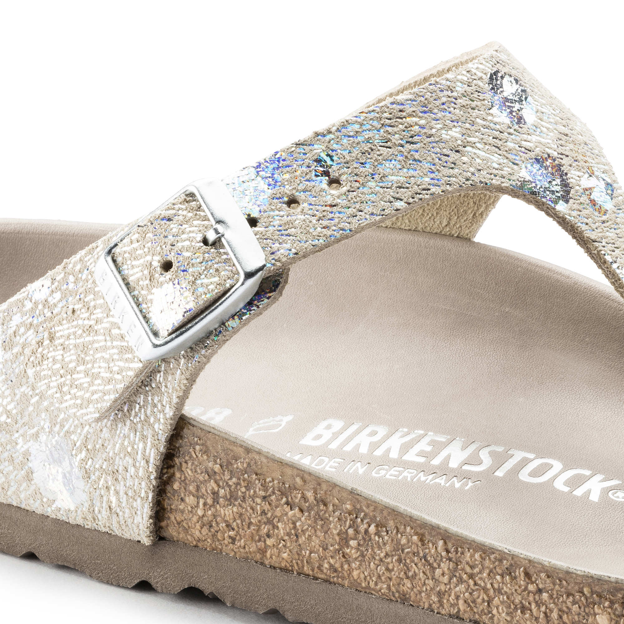6008ecbc1dbe ... Gizeh Natural Leather Spotted Metallic Silver ...