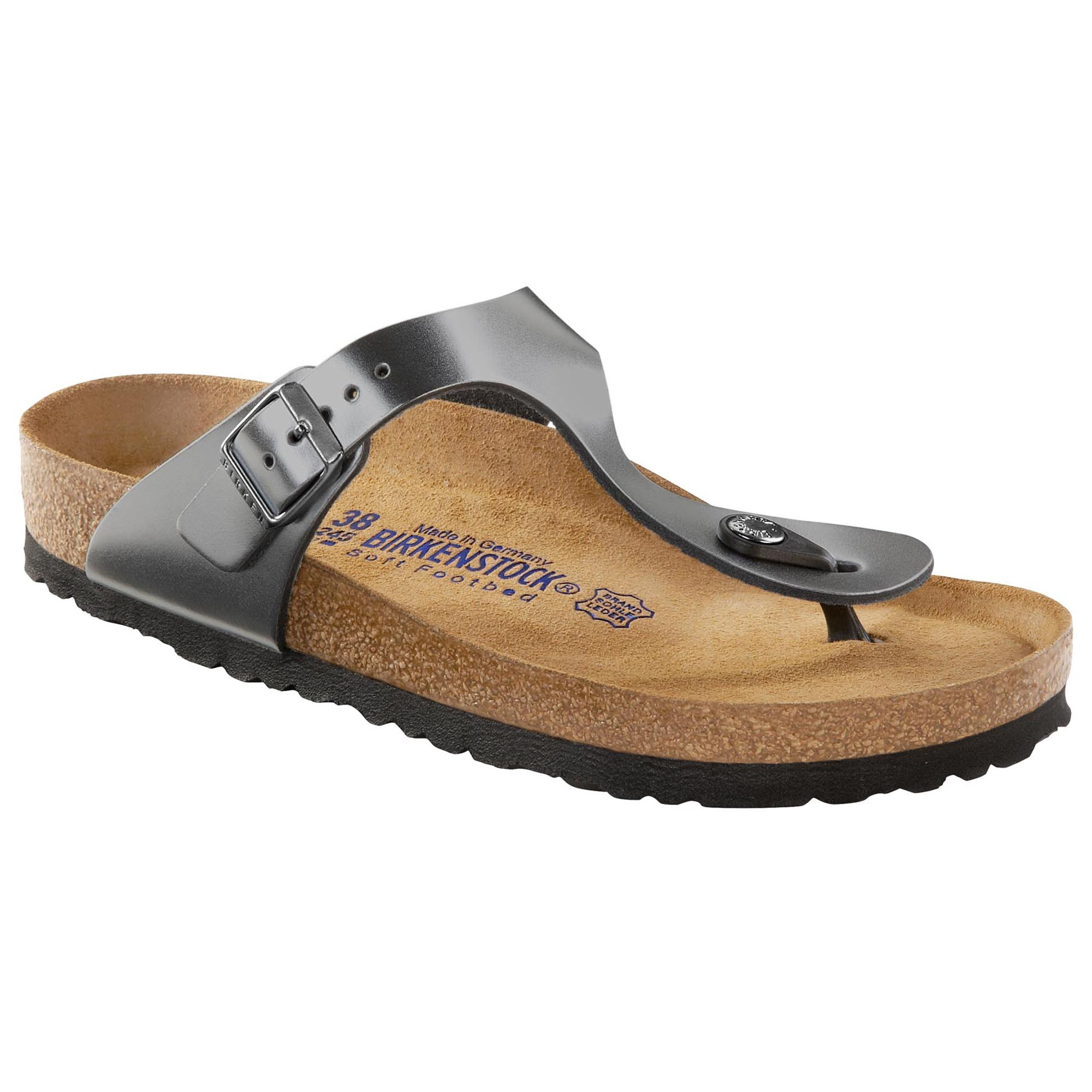 e9dc07b4f8d Gizeh Natural Leather Soft Footbed Metallic Anthracite