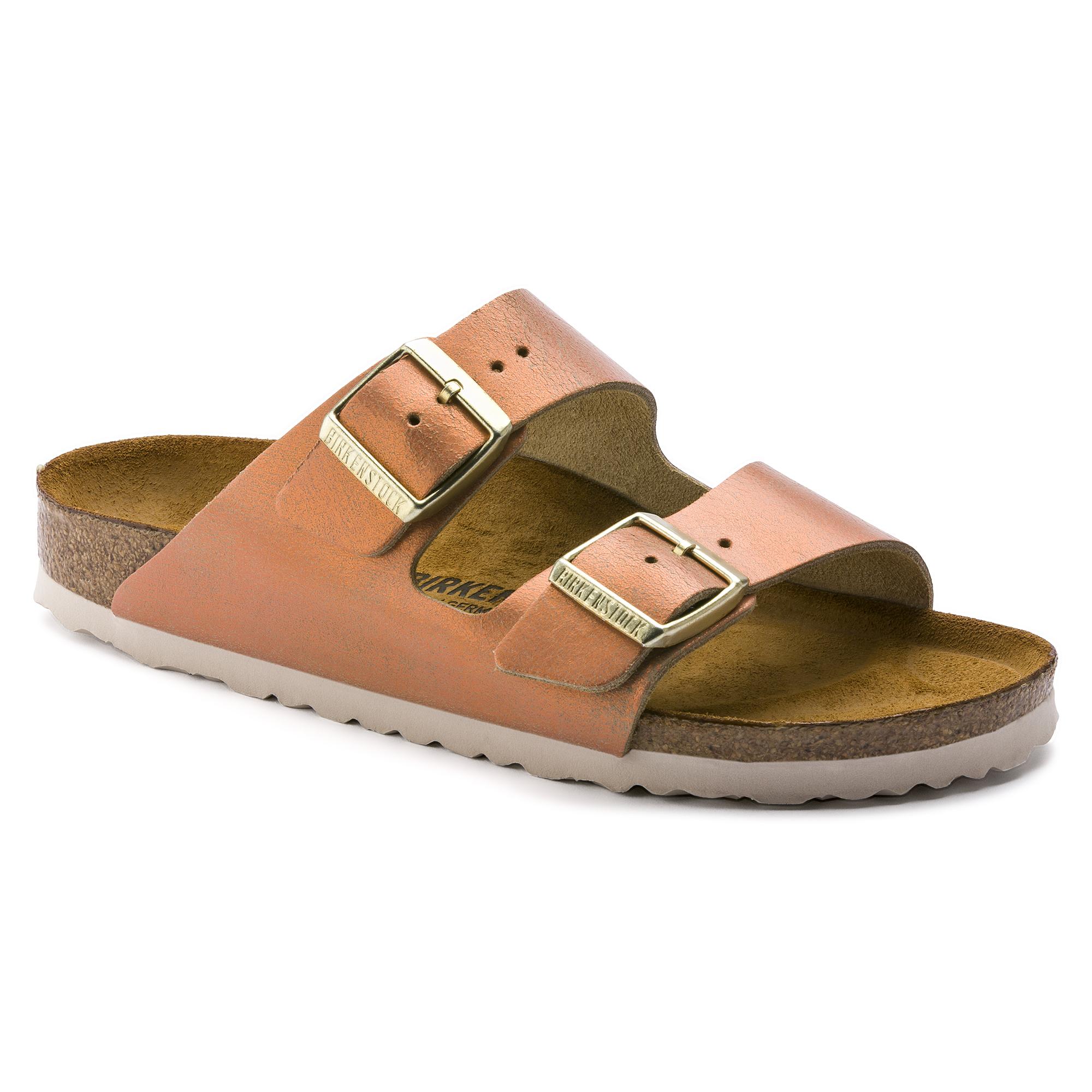 Birkenstock Arizona Narrow Washed Metallic Antique Copper Sandal