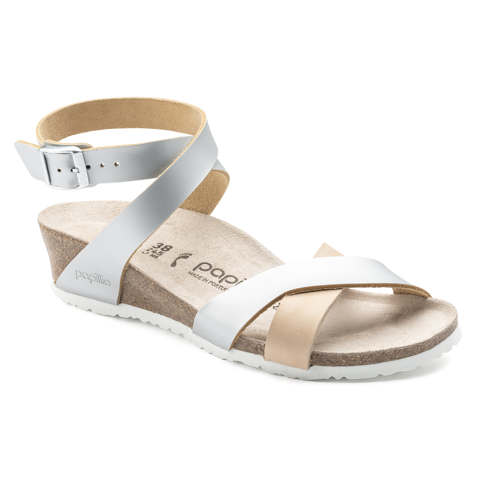 5499a6bb21b Lola Natural Leather Frosted Metallic Silver ...