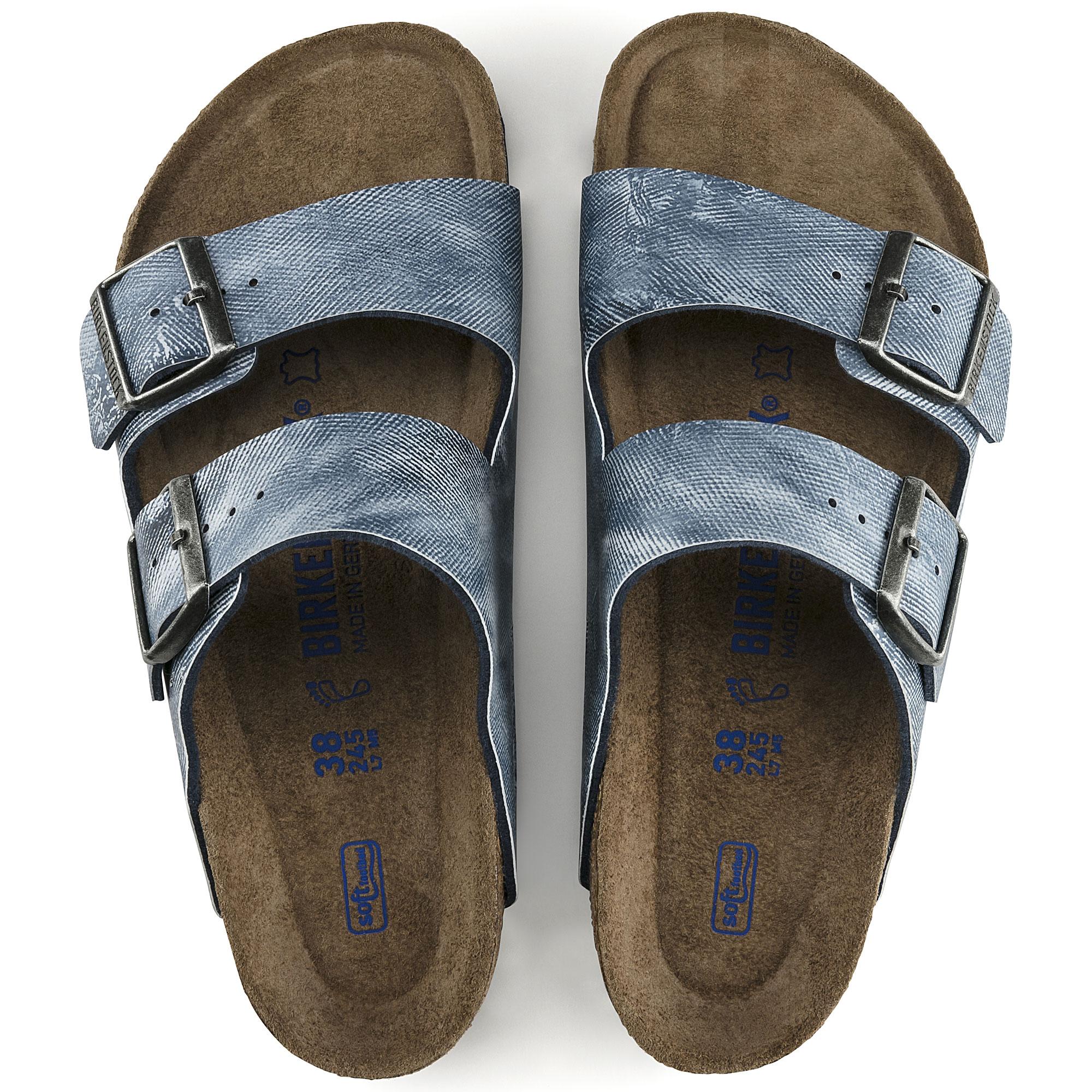 Birkenstock Arizona Sandals Birko Flor Soft Footbed Jeans Washed Out Blue 44 N