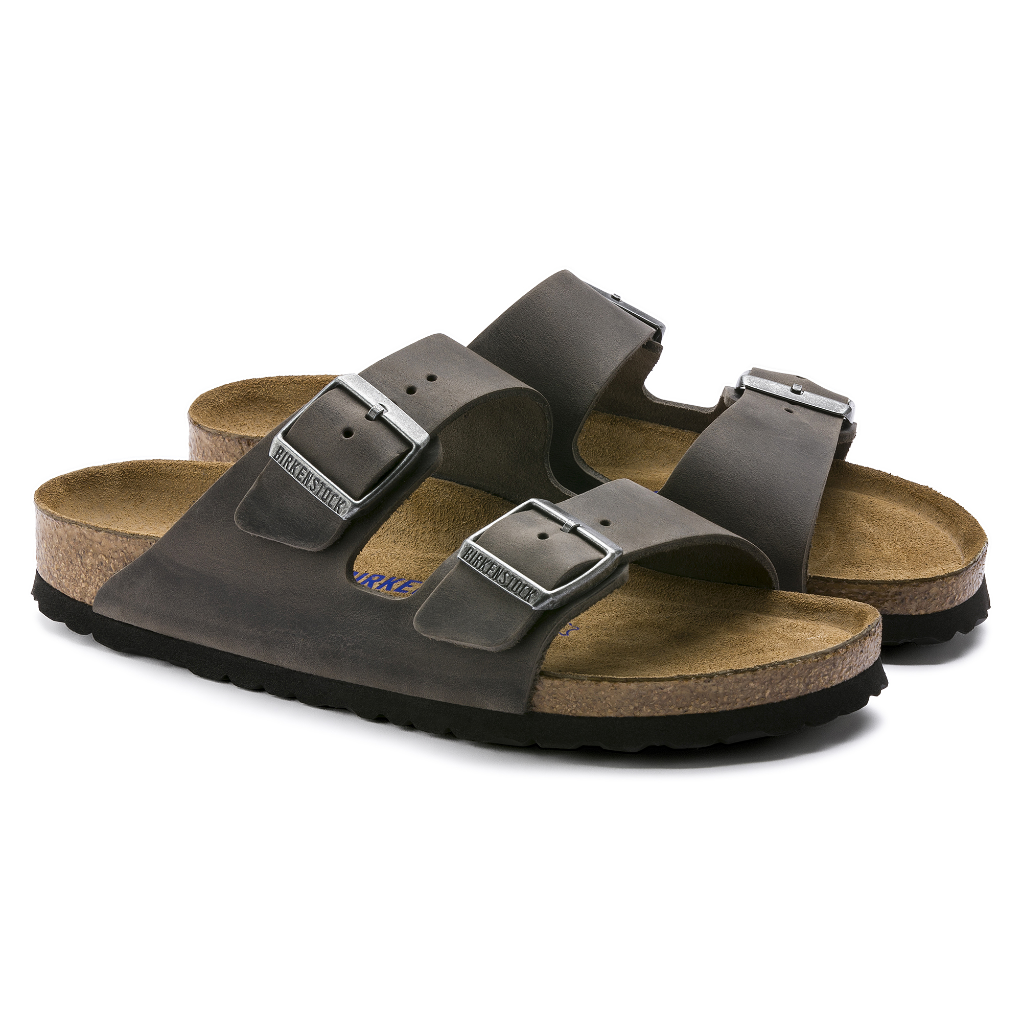 Birkenstock Arizona Oiled Leather Soft Fb Iron Sandal from