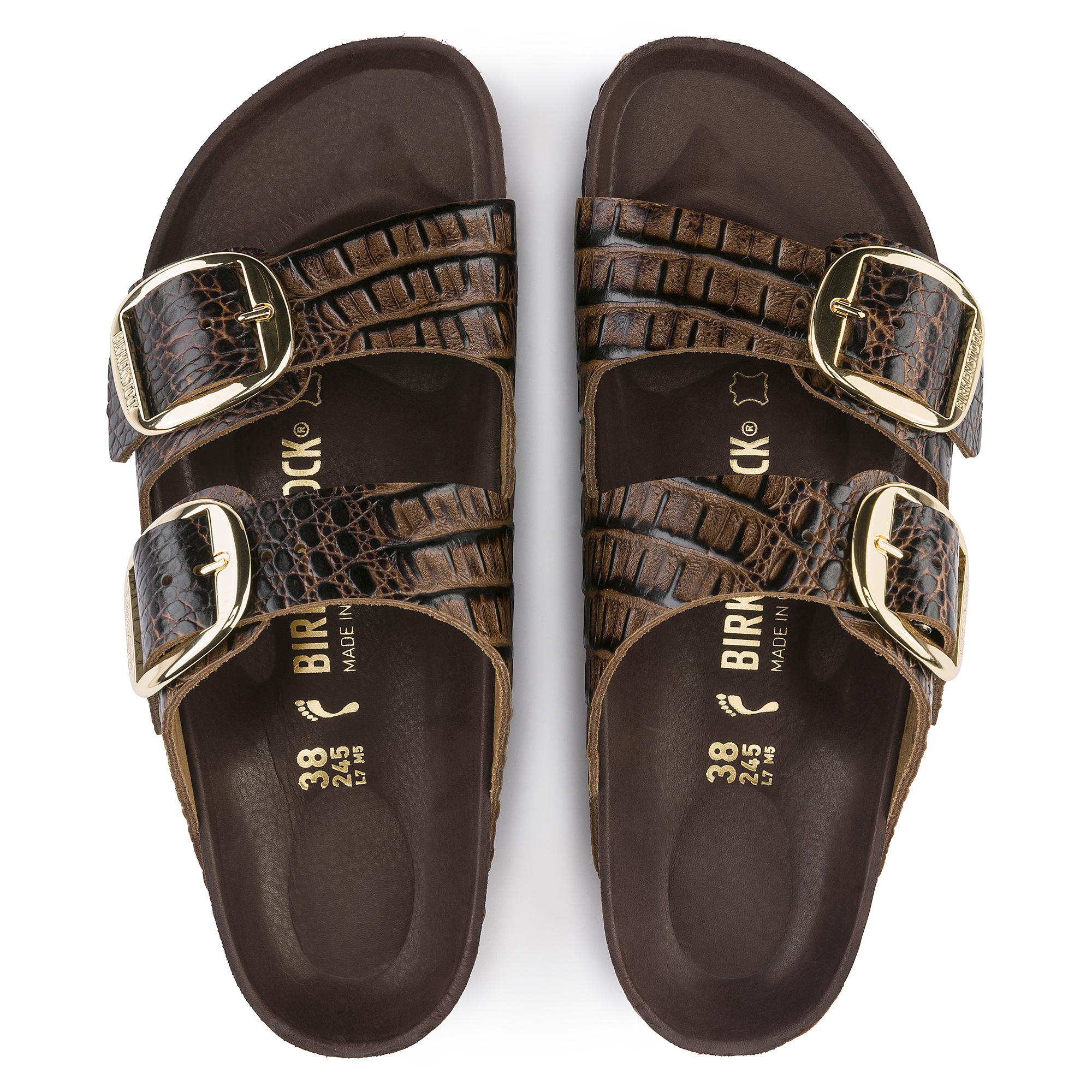 d1556f8fedfb ... Arizona Embossed Natural Leather Gator Brown ...