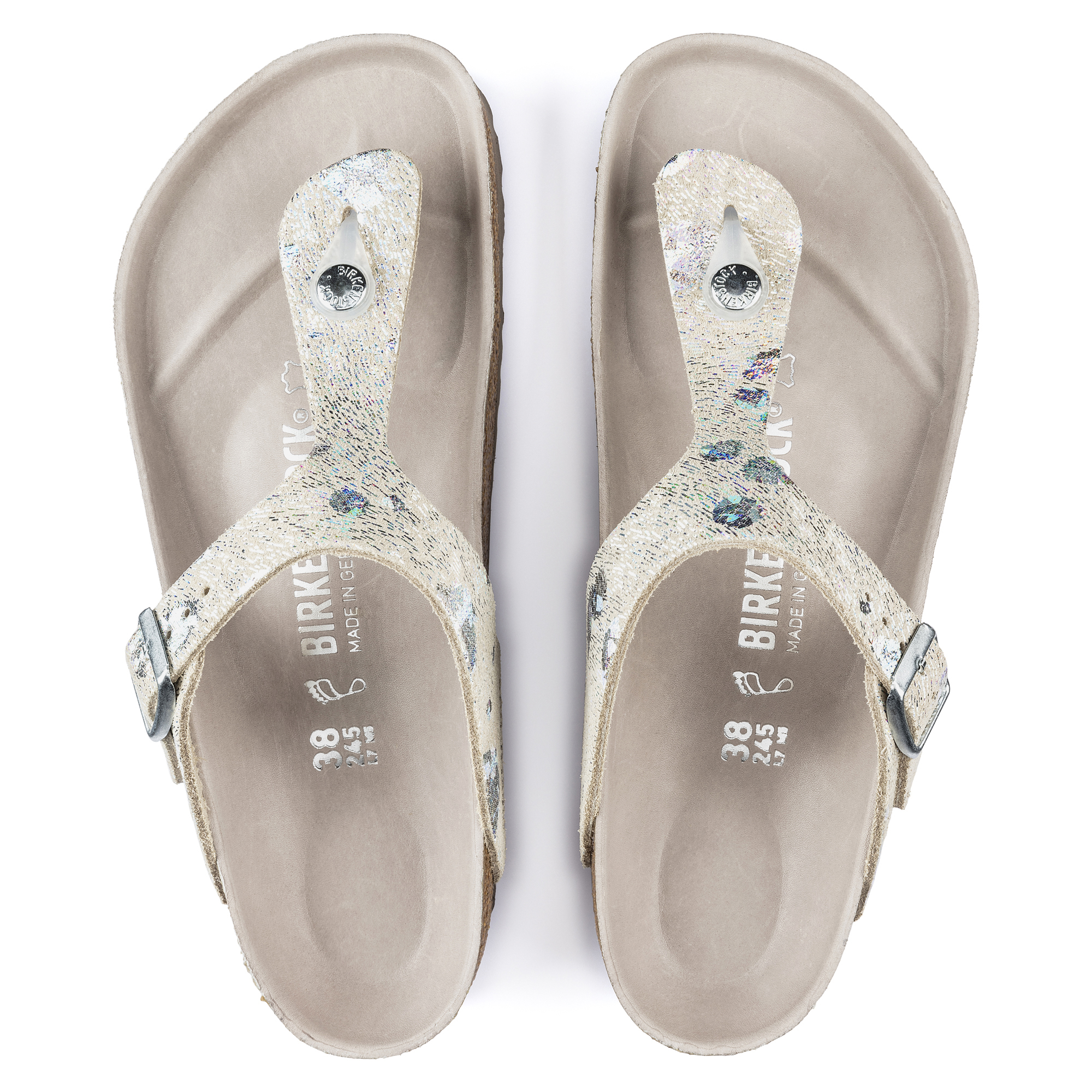 info for fbfc6 0abc7 Gizeh Natural Leather Spotted Metallic Silver