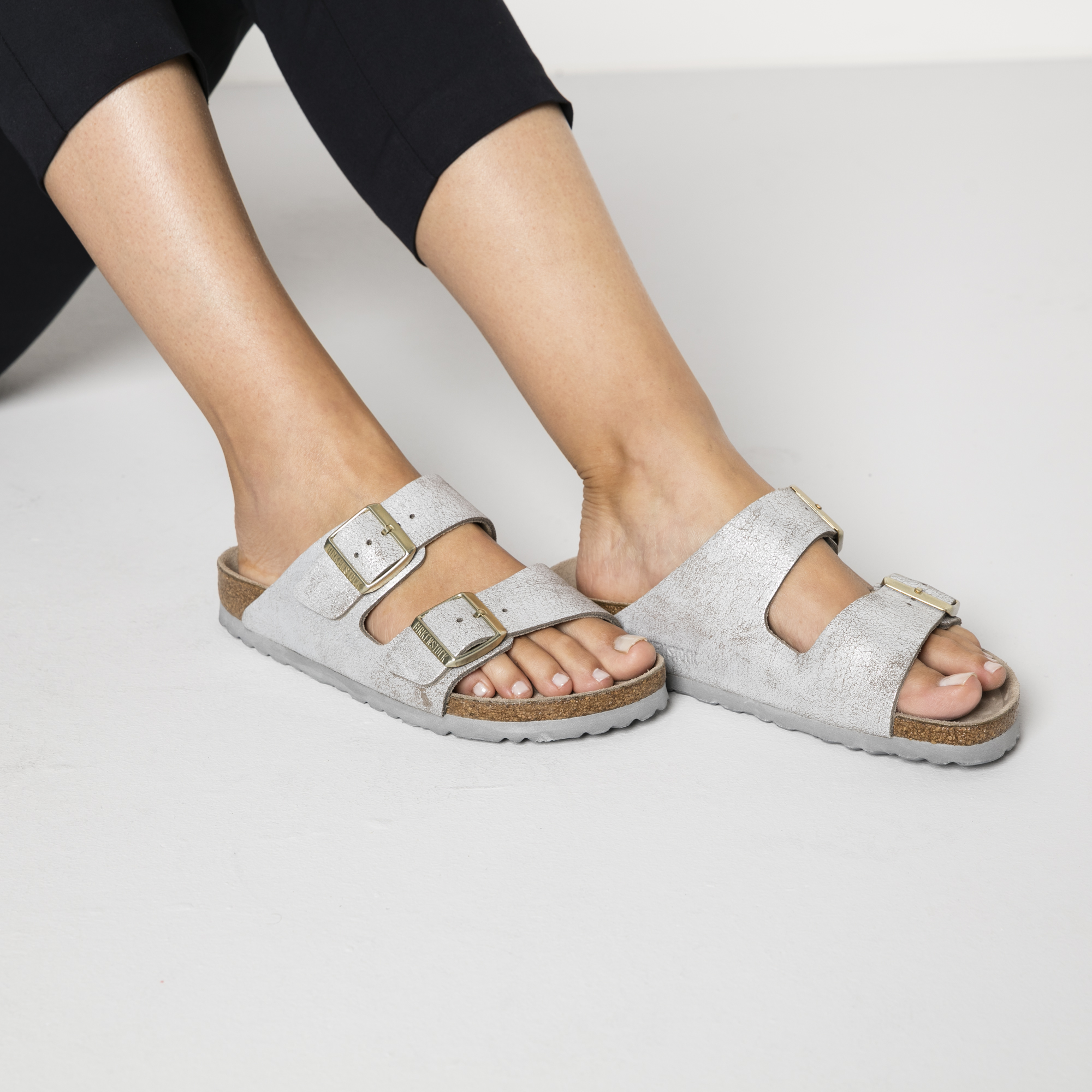 cad60a34623 ... Arizona Suede Leather Washed Metallic Blue Silver