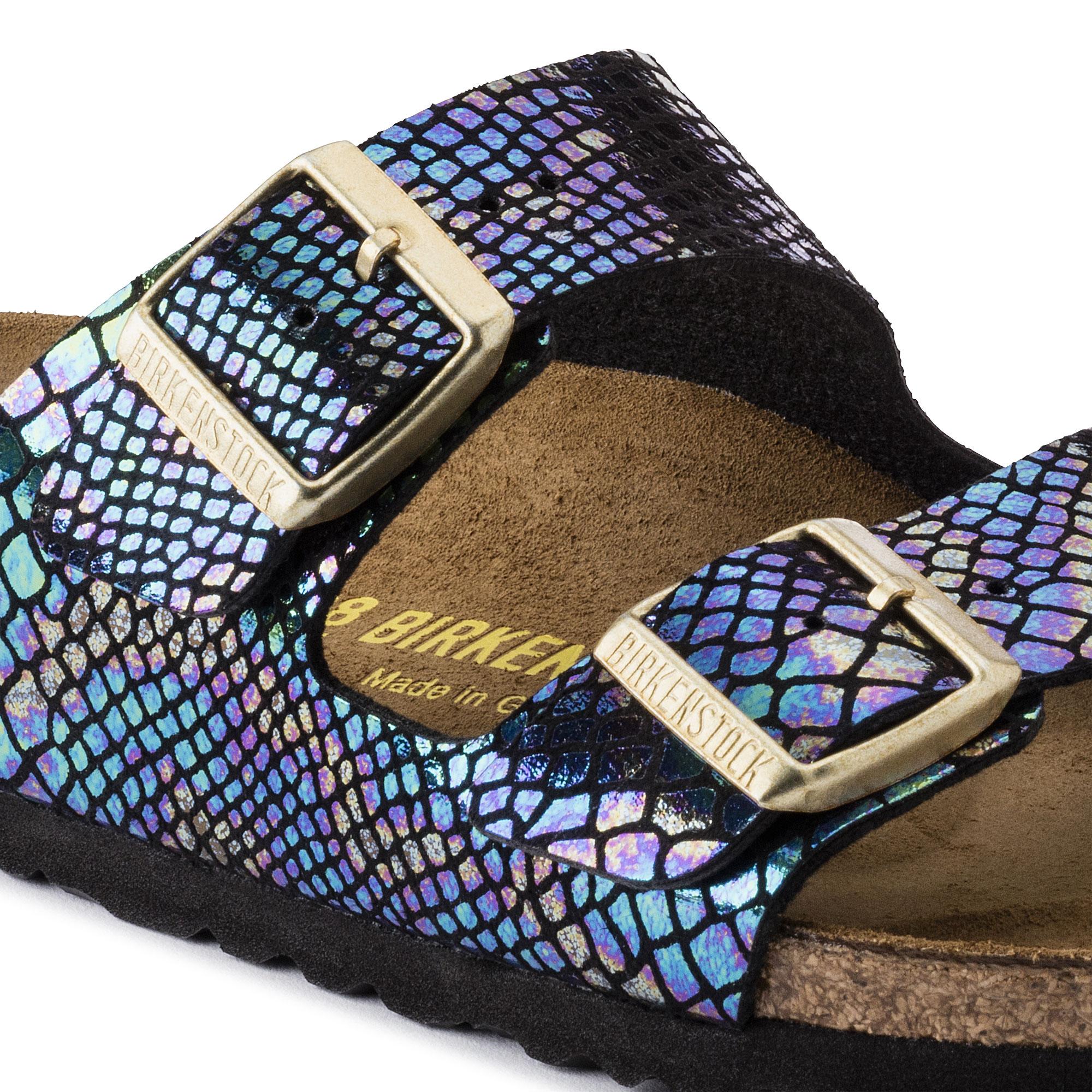 Pantoletten BIRKENSTOCK Arizona 1003463 Shiny Snake Black Multicolor