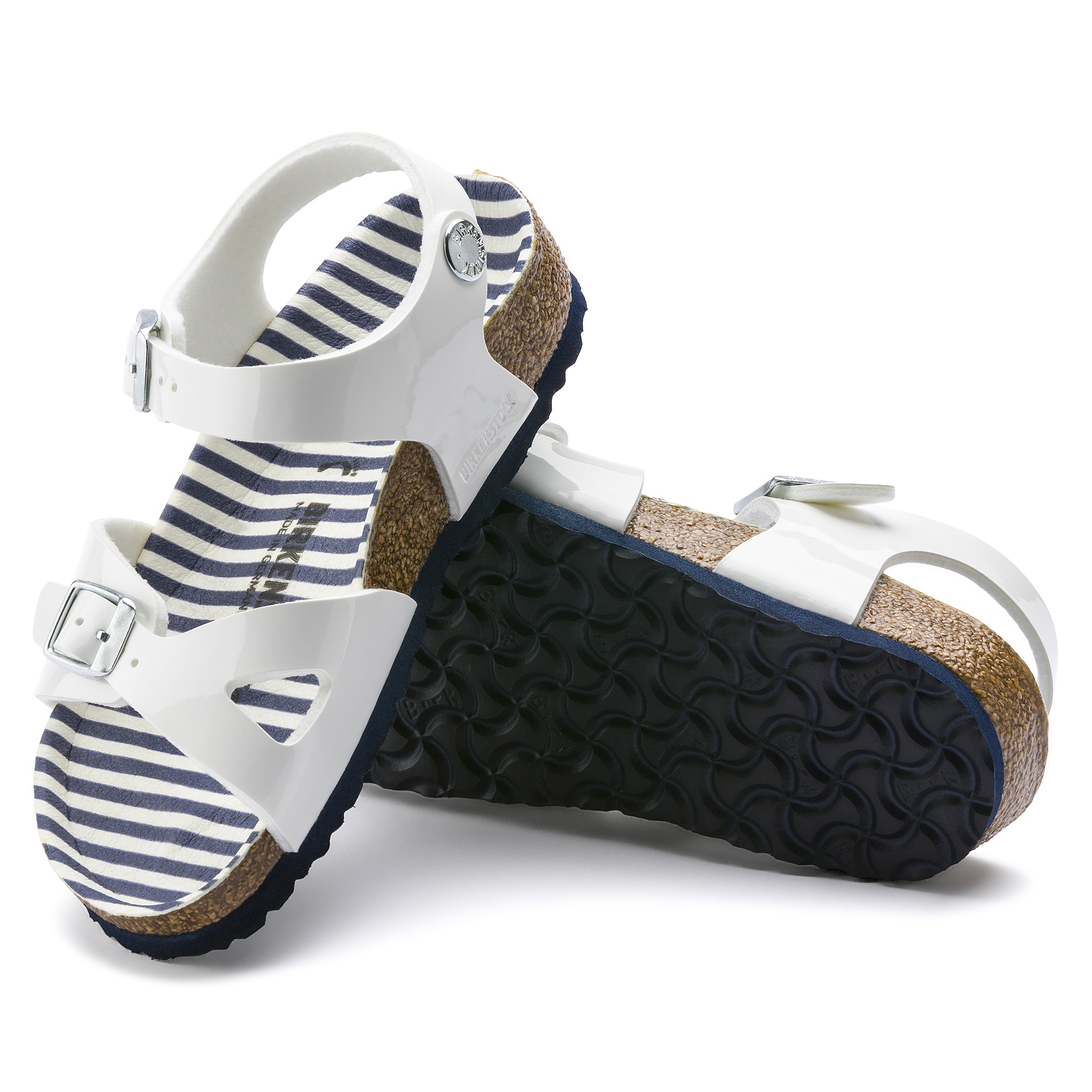 Birkenstock Kids Rio Birko Flor Narrow Fit Sandal (Nautical Stripes White, Size 28 EU) | Shoes |