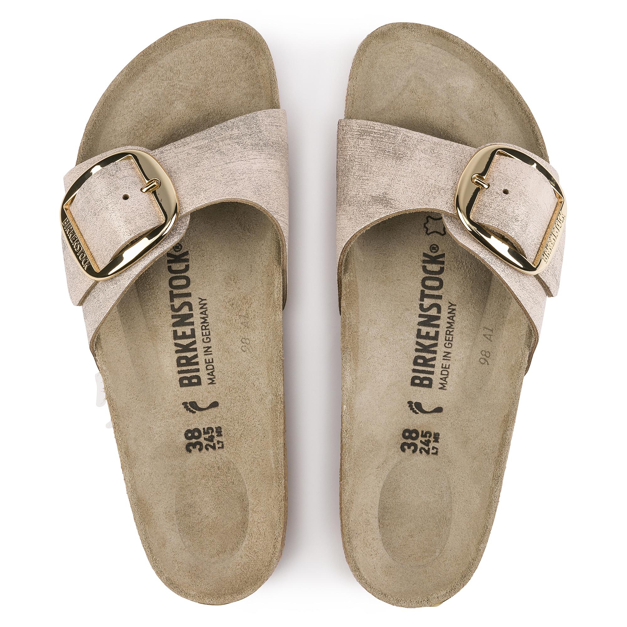 Birkenstock Madrid sandals! Metallic rose gold!