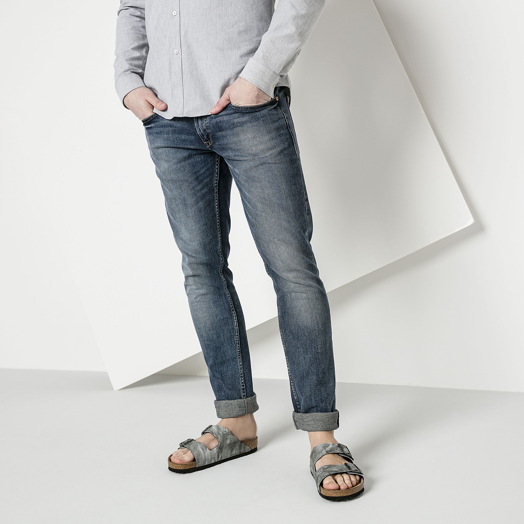 Birkenstock Madrid Birko-Flor Used Jeans Sandals Grey 8ePd7