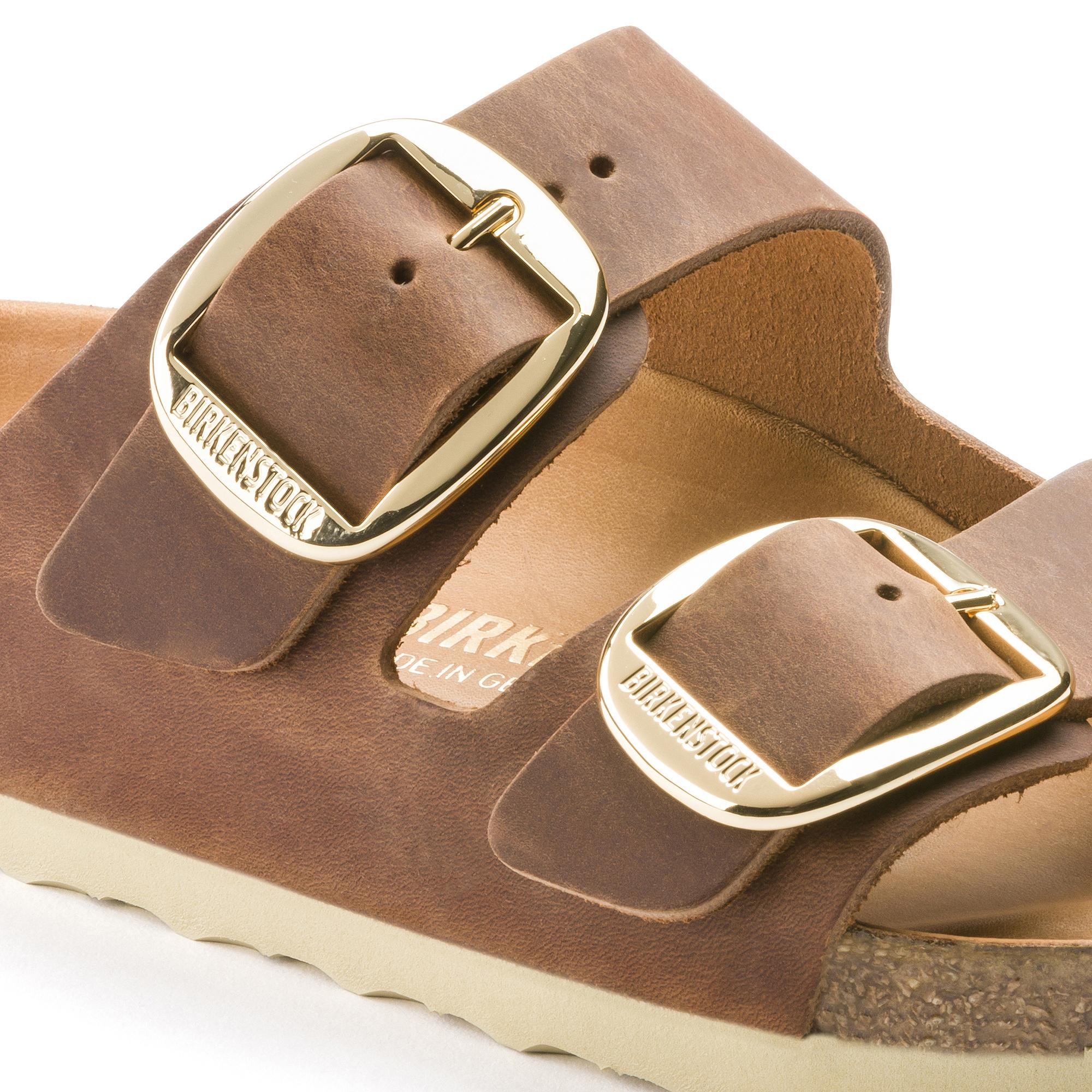 Details about Birkenstock Sandals ARIZONA BIG BUCKLE antique brown (cognac) leather regular