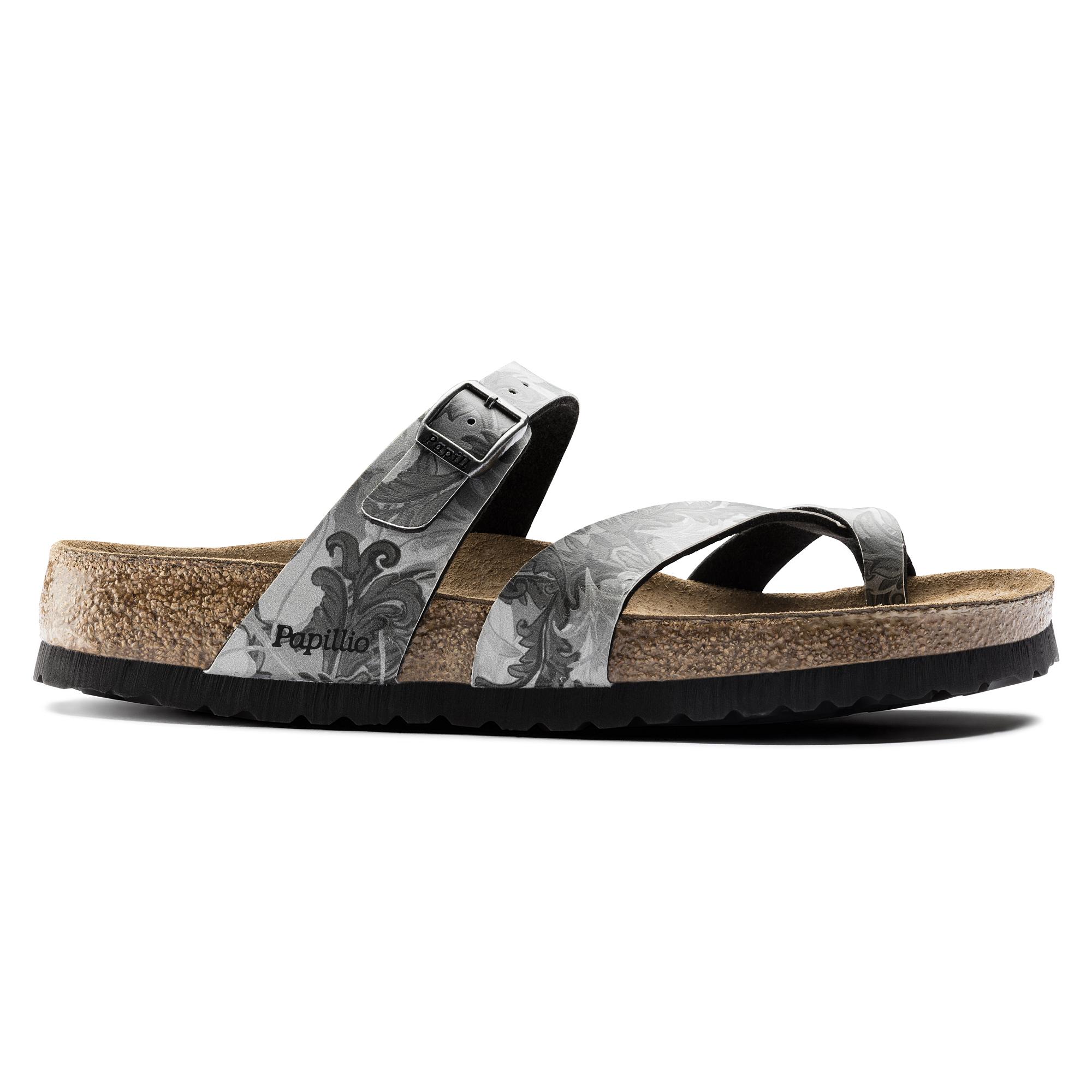 Womens Tabora Birko-Flor Softfootbed Flip Flops, Damask Grey Papillio